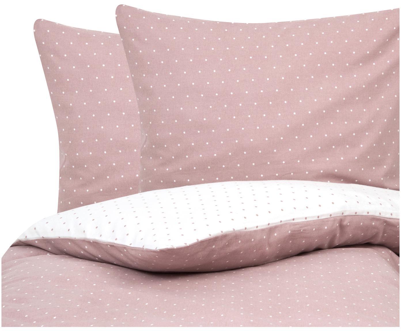 Flanell-Wendebettwäsche Betty, gepunktet, Webart: Flanell Flanell ist ein s, Altrosa, Weiss, 200 x 200 cm + 2 Kissen 80 x 80 cm