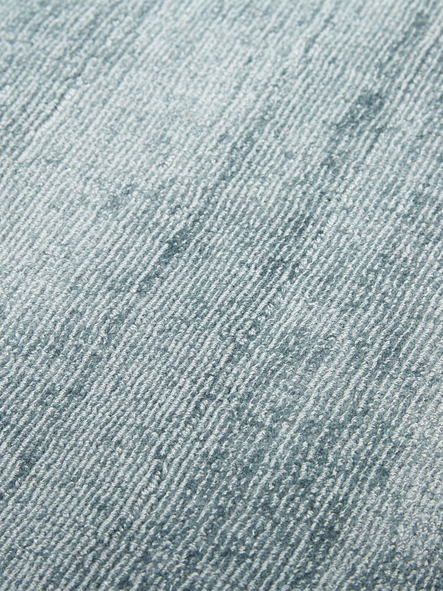 Tappeto in viscosa tessuto a mano Jane, Retro: 100% cotone, Blu ghiaccio, Larg.160 x Lung. 230 cm  (taglia M)