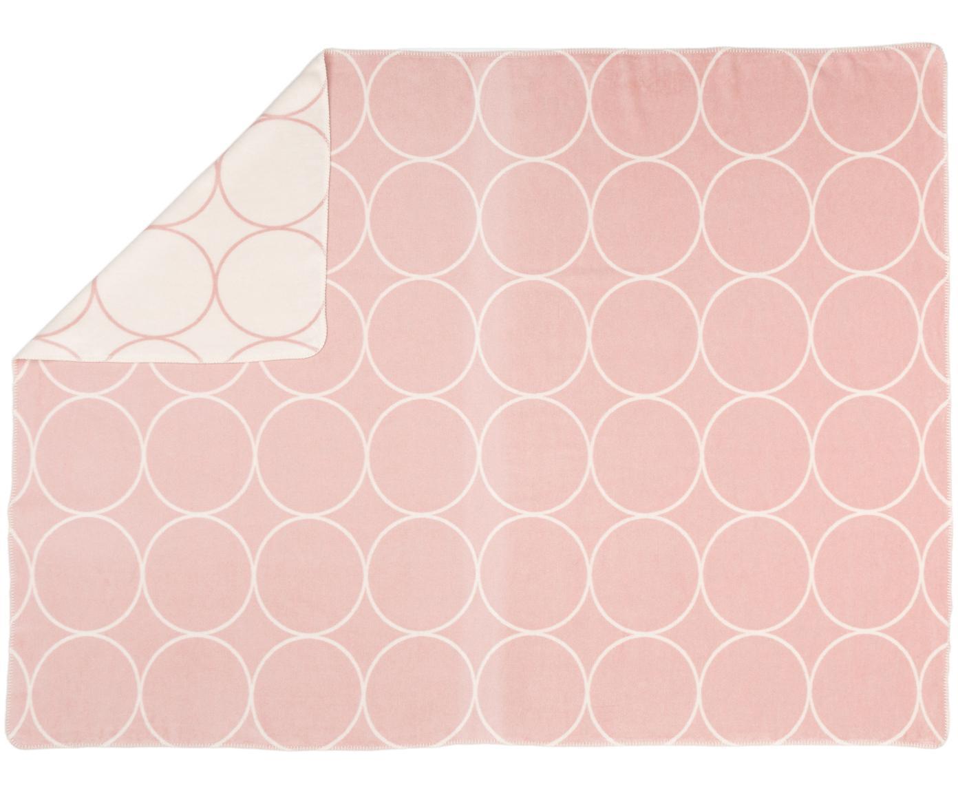 Velour-Wendeplaid Bamboo Circles, Webart: Jacquard, Altrosa, Weiß, 150 x 200 cm