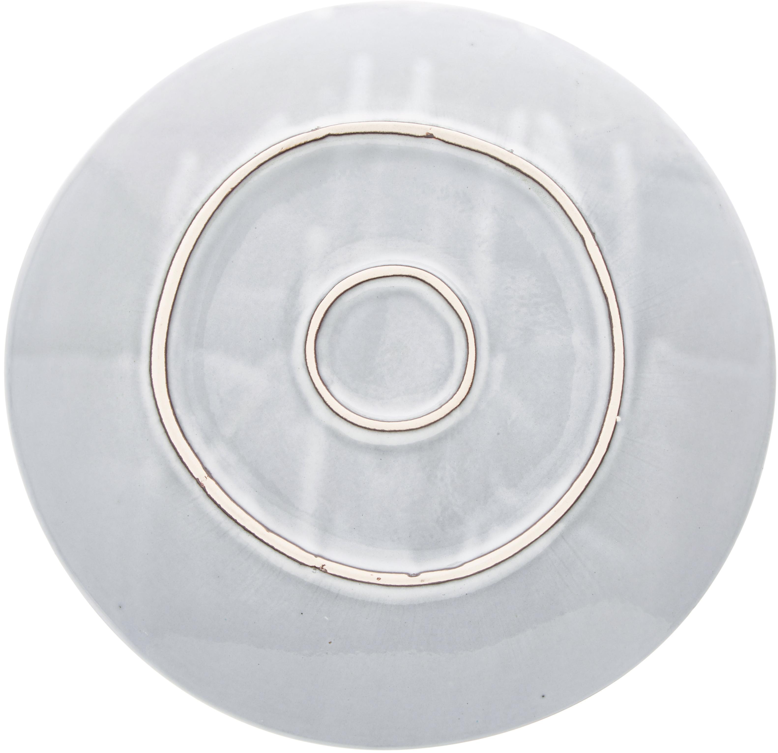 Piatto piano fatto a mano Thalia 2 pz, Ceramica, Grigio con bordo scuro, Ø 27 cm