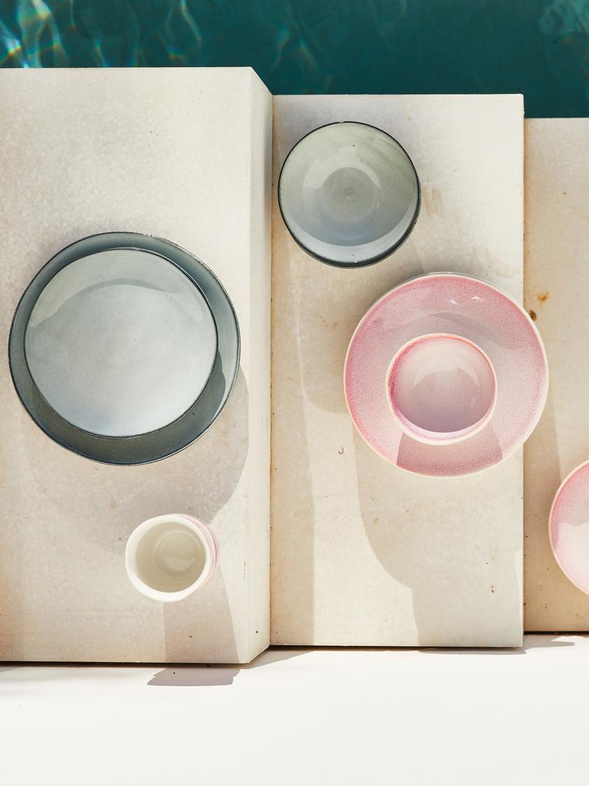 Assiettes plates artisanales Thalia, 2 pièces, Gris avec bordure foncée
