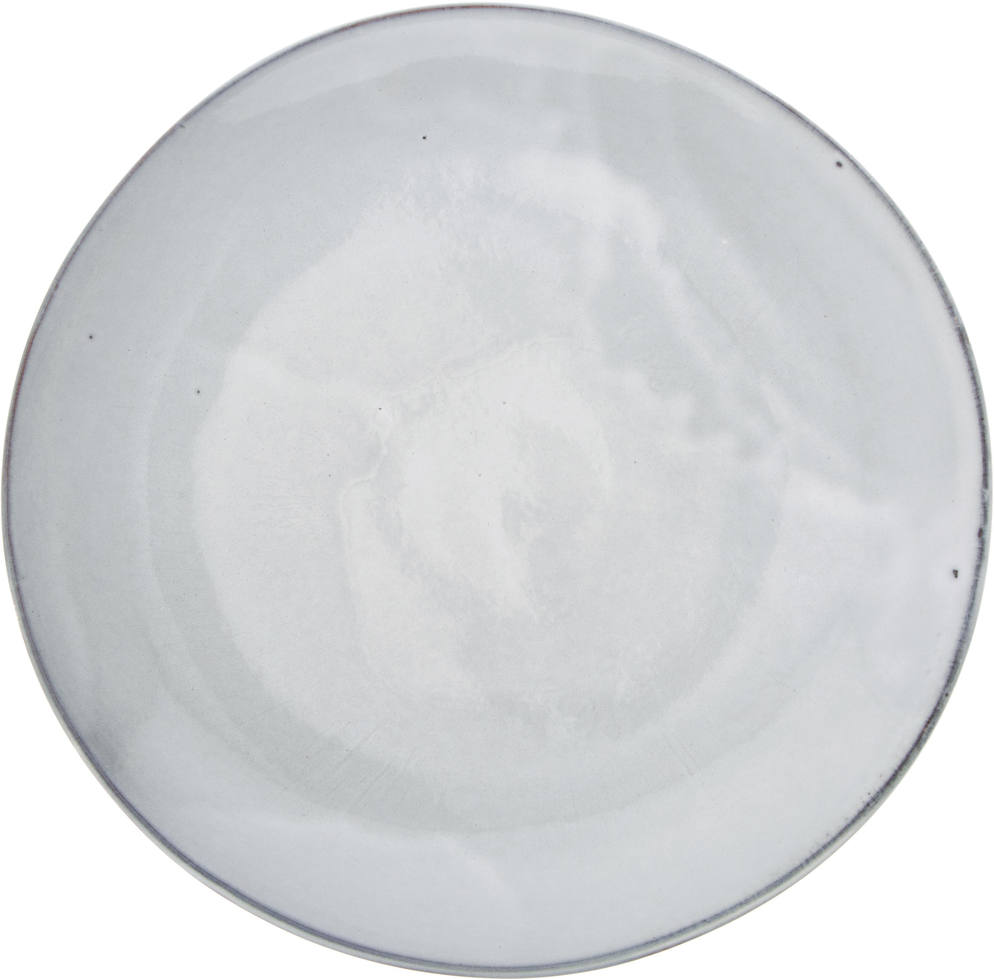 Handgemaakte dinerborden Thalia, 2 stuks, Keramiek, Grijs met donkere rand, Ø 27 cm