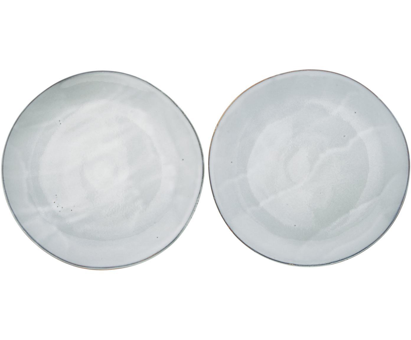 Platos llanos artesanales Thalia, 2uds., Cerámica, Gris con borde oscuro, Ø 27 cm