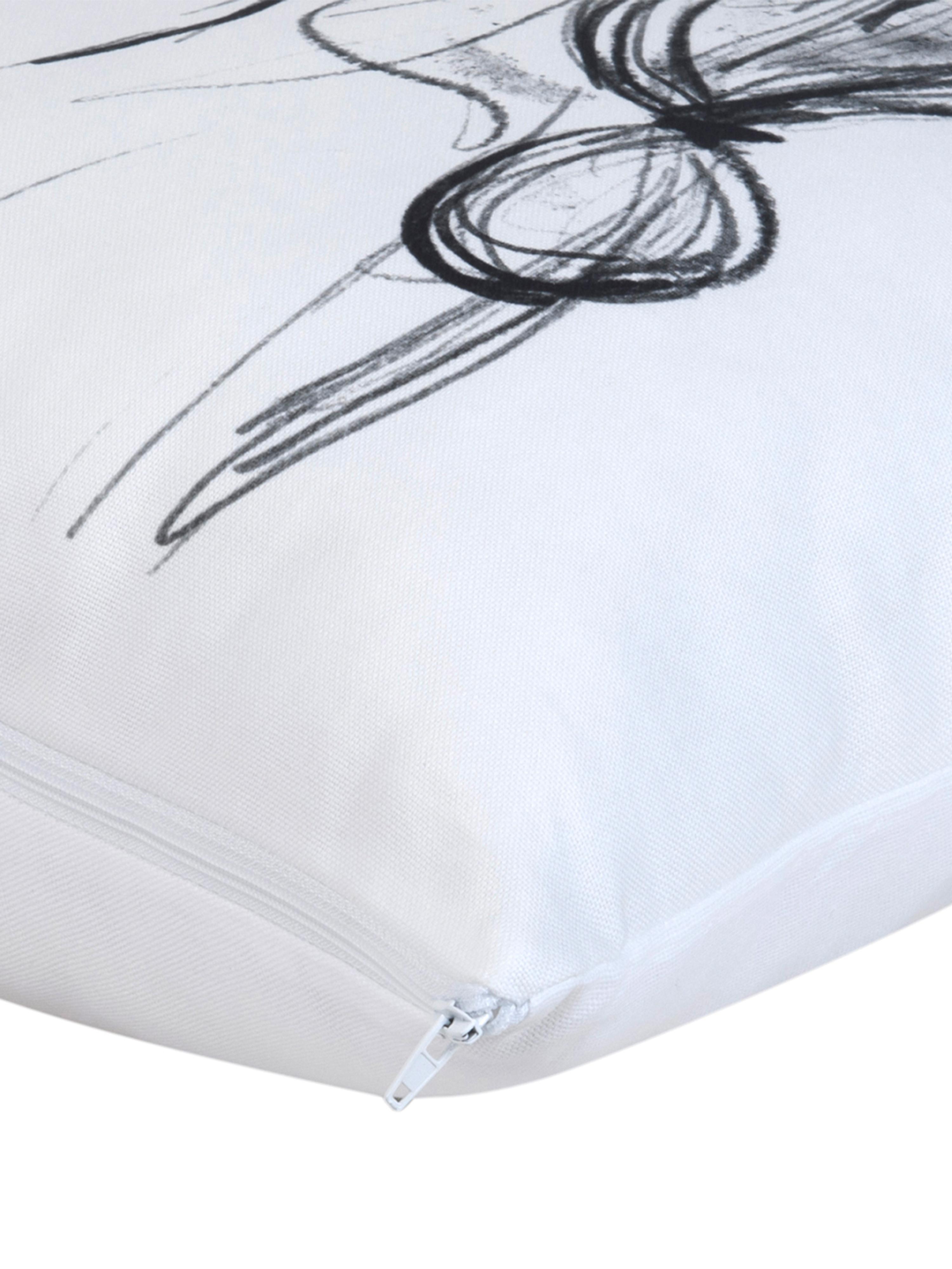 Funda de cojín Ponytail diseño Kera Till, 100%algodón, Blanco, negro, An 40 x L 40 cm