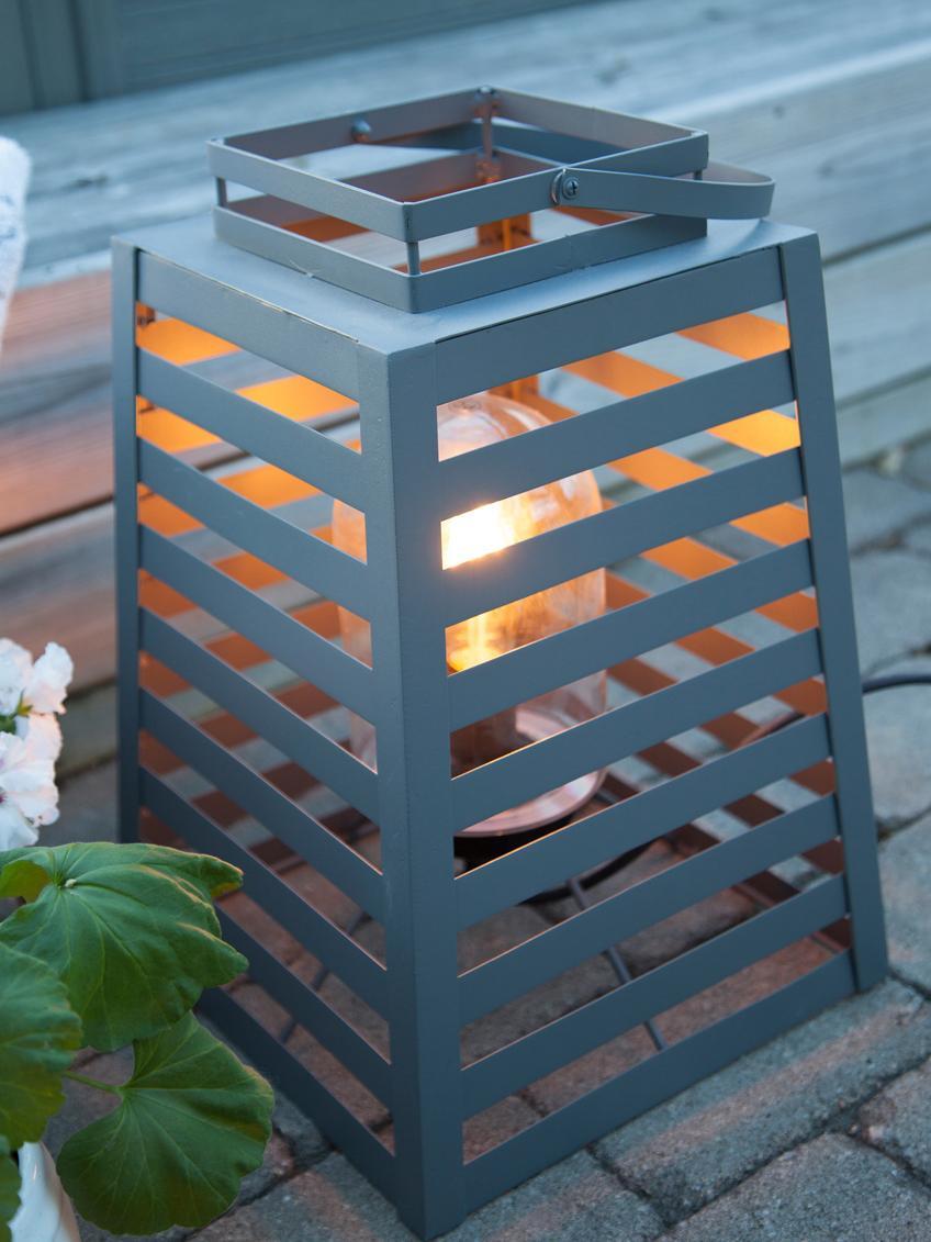 Outdoor vloerlamp Yankton in lantaarnvorm, Lamp: gepoedercoat metaal, Diffuser: glas, Grijs, 30 x 60 cm