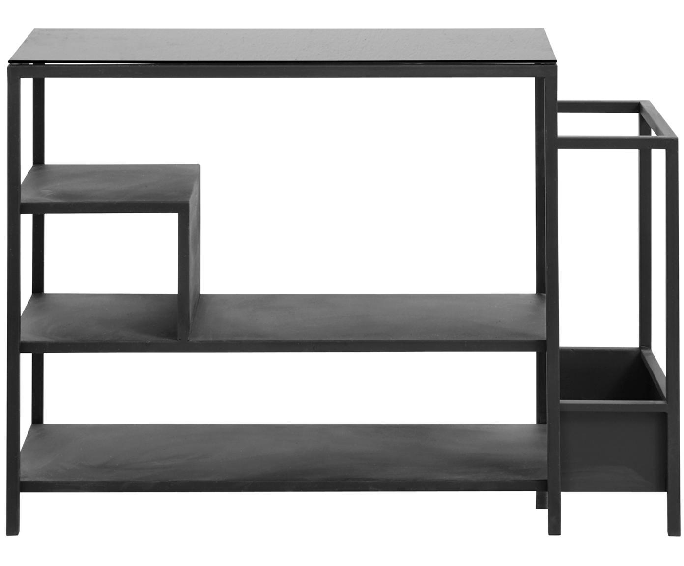 Półka na buty z metalu ze stojakiem na parasol Bum, Metal malowany proszkowo, Czarny, S 85 x W 59 cm