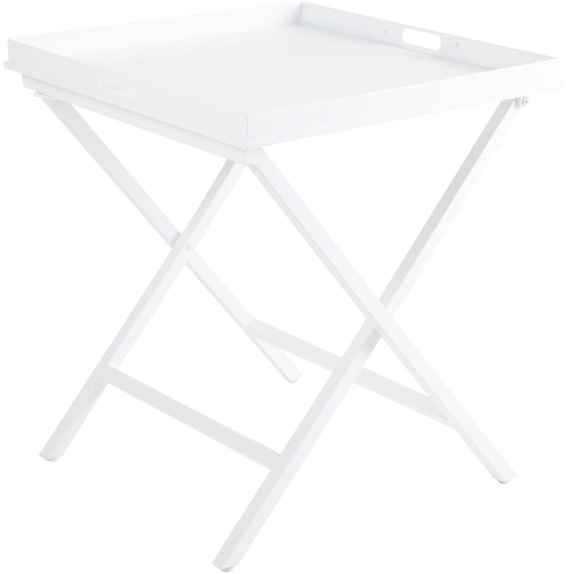 Klappbarer Tablettisch Vero in Weiss, Aluminium, beschichtet, Weiss, matt, 60 x 70 cm