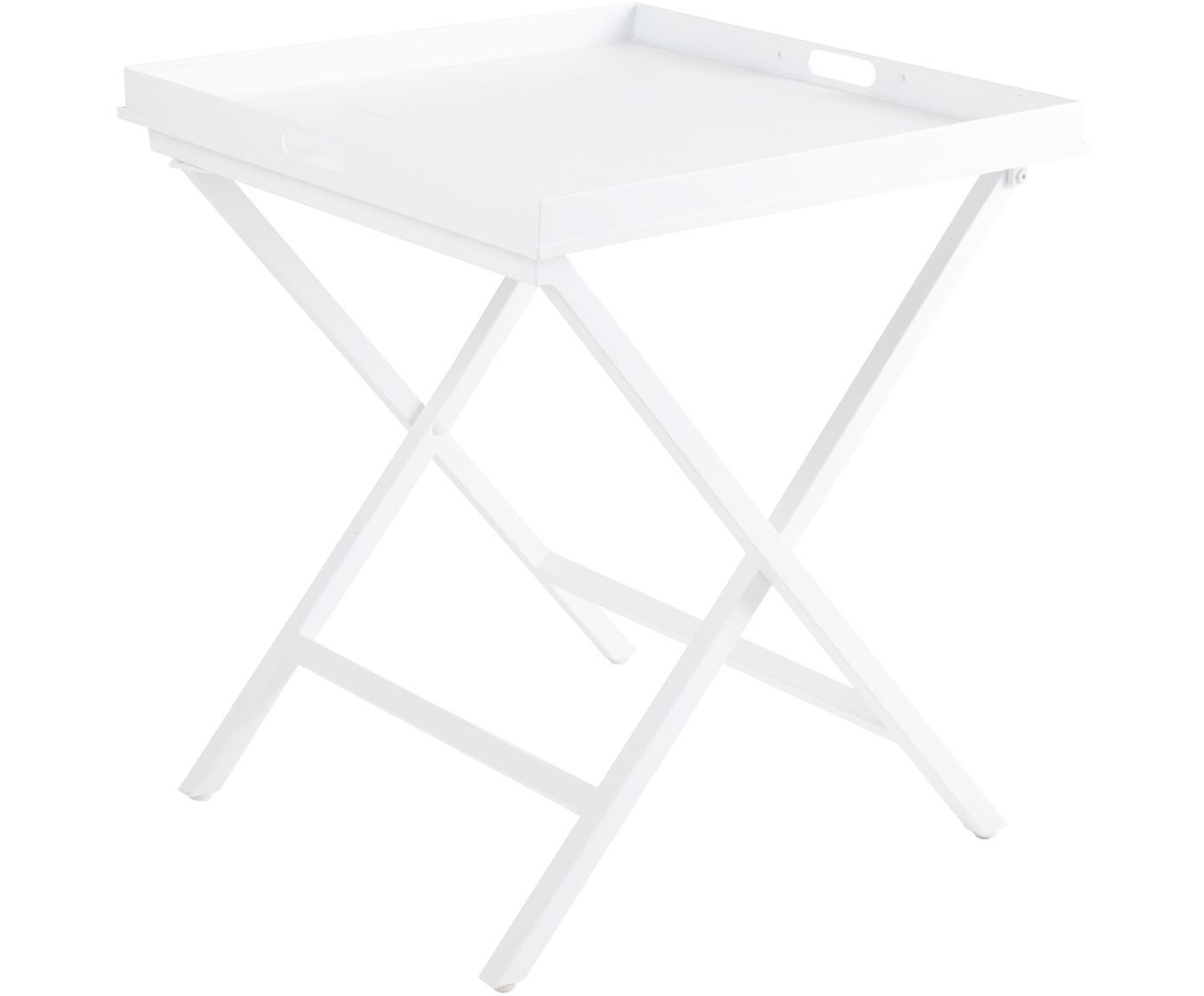 Mesa auxiliar con bandeja extraíble Vero, Aluminio recubierto, Blanco, An 60 x Al 70 cm