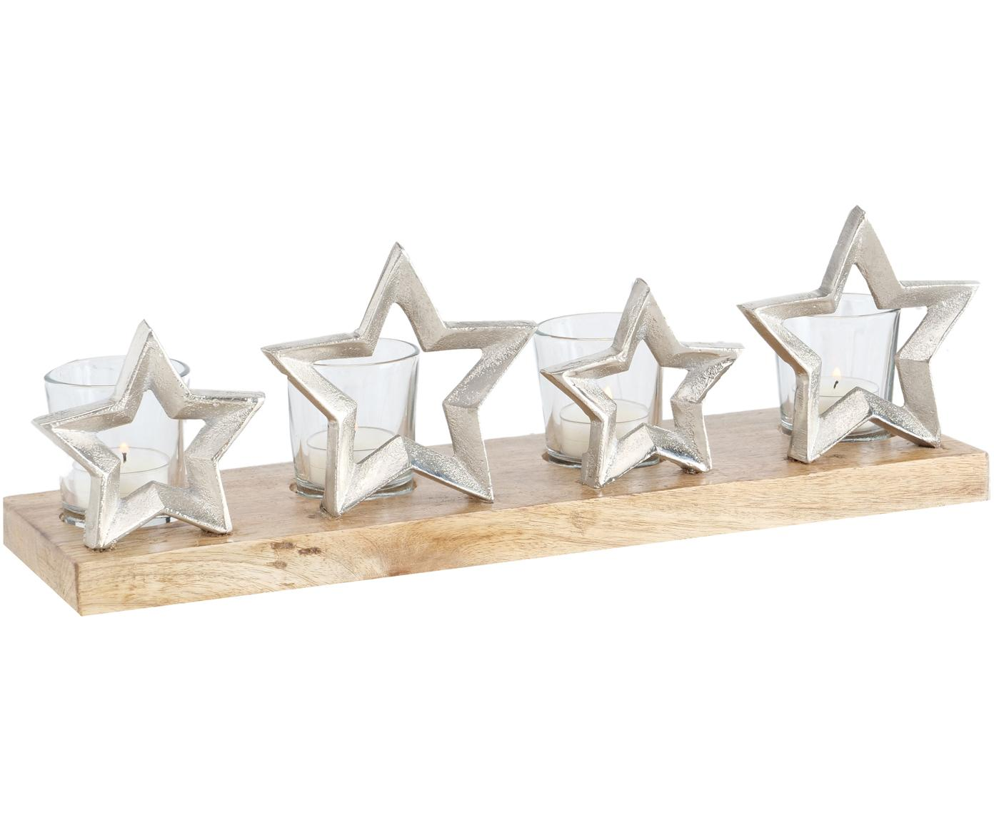 Set 5 portalumini Janna, Vassoio: legno di mango, alluminio, Portacandela: vetro, Legno di mango, alluminio, trasparente, Larg. 42 x Alt. 14 cm