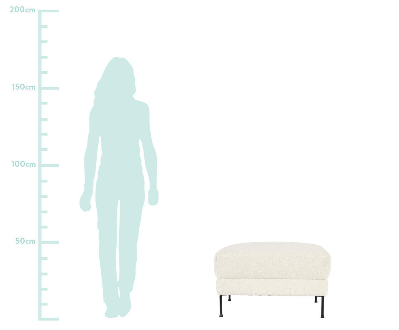 Sofa-Hocker Fluente aus Teddystoff, Bezug: Polyester (Teddyfell) 40., Gestell: Sperrholz, Spanplatte, Füße: Metall, pulverbeschichtet, Teddy Cremeweiß, 62 x 46 cm