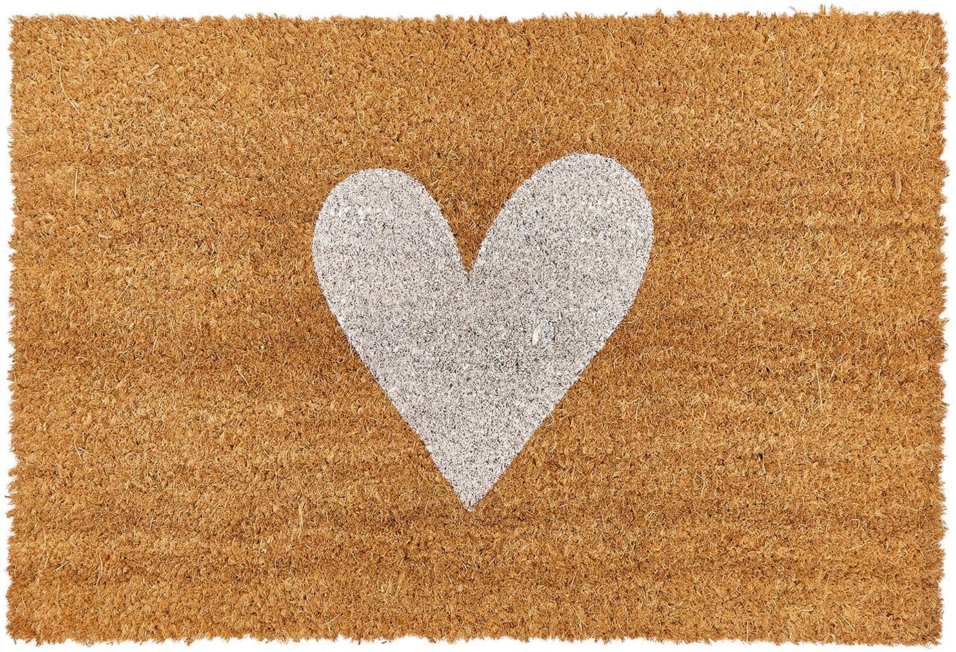 Felpudo Love, Parte superior: fibras de coco, Reverso: plástico (PVC), Parte superior: beige, blanco Reverso: negro, An 40 x L 60 cm