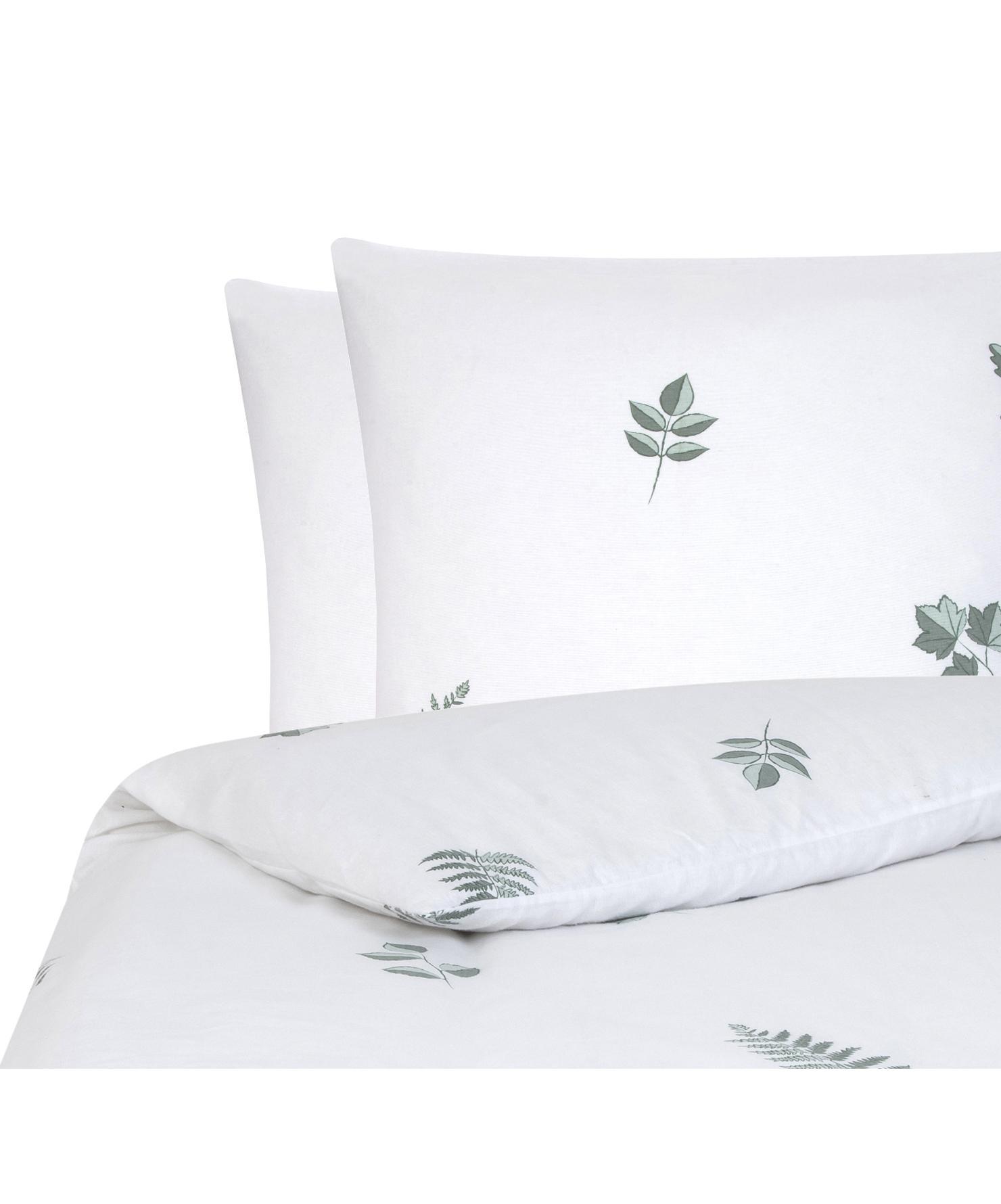Flanell-Bettwäsche Fraser mit winterlichem Blattmuster, Webart: Flanell Flanell ist ein s, Salbeigrün, Weiß, 200 x 200 cm + 2 Kissen 80 x 80 cm