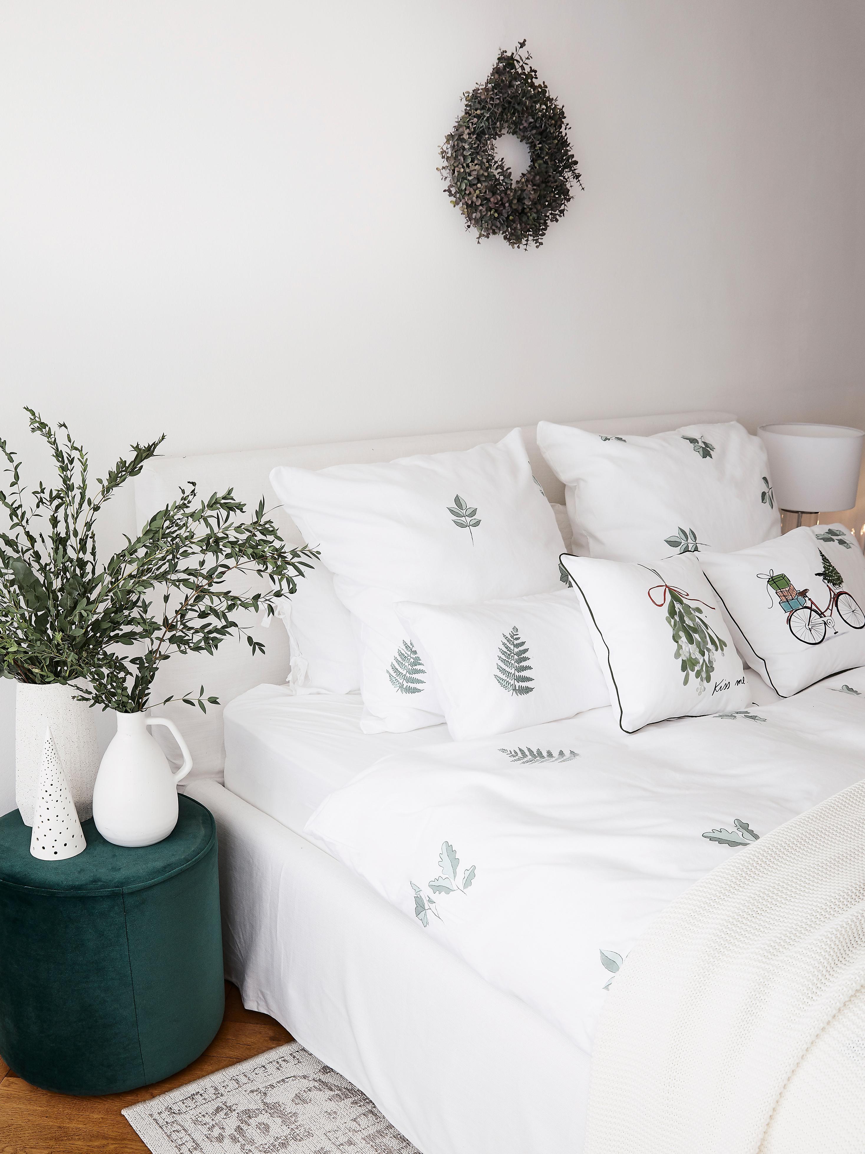 Pościel z flaneli Fraser, Szałwiowy zielony, biały, 155 x 220 cm + 1 poduszka 80 x 80 cm