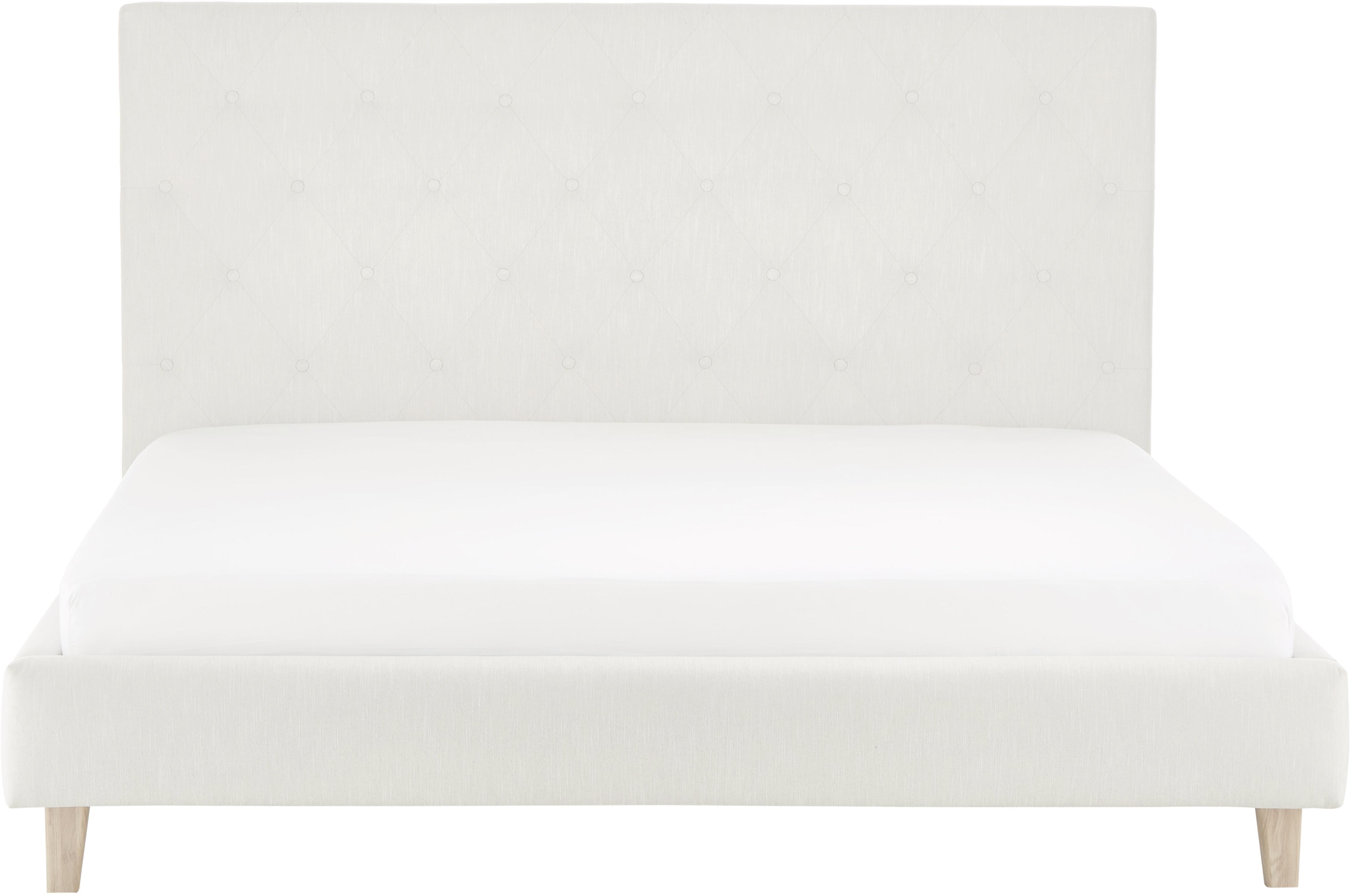 Letto matrimoniale imbottito Serene, Piedini: legno di quercia massicci, Rivestimento: Poliestere (tessuto strut, Beige, Larg. 180 x Lung. 200 cm