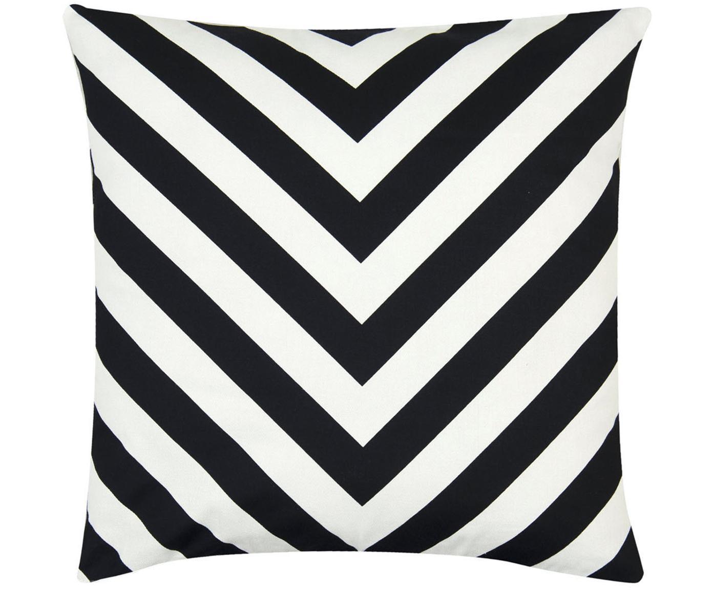 Kissenhülle Lena mit Zickzackmuster in Schwarz/Weiß, 100% Baumwolle, Panamabindung, Schwarz, Creme, 40 x 40 cm