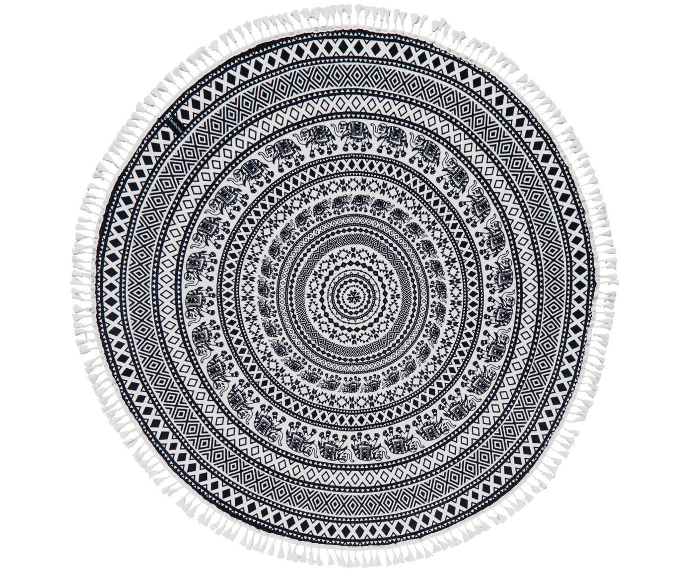 Okrągły ręcznik plażowy Goa, Czarny, biały, Ø 150 cm