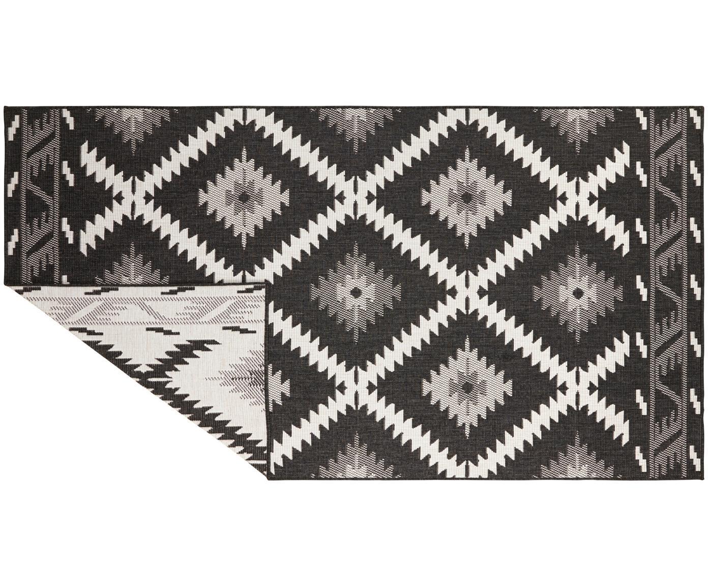 Dubbelzijdig in- en outdoor vloerkleed Malibu, Zwart, crèmekleurig, B 80 x L 150 cm (maat XS)