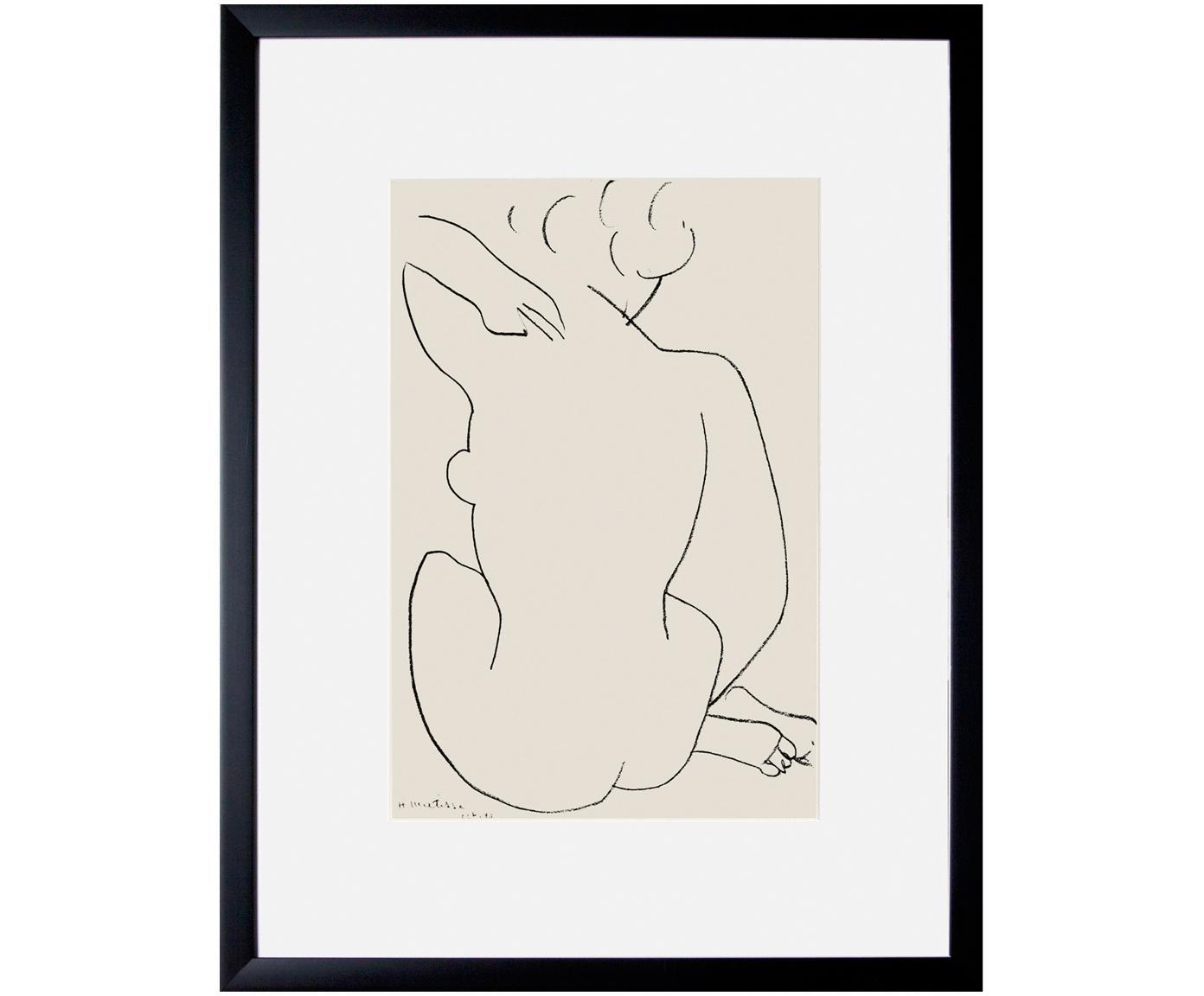 Ingelijste digitale print Matisse: Nu Accroupi, Afbeelding: digitale print, Lijst: kunststoffen frame met gl, Multicolour, 43 x 60 cm