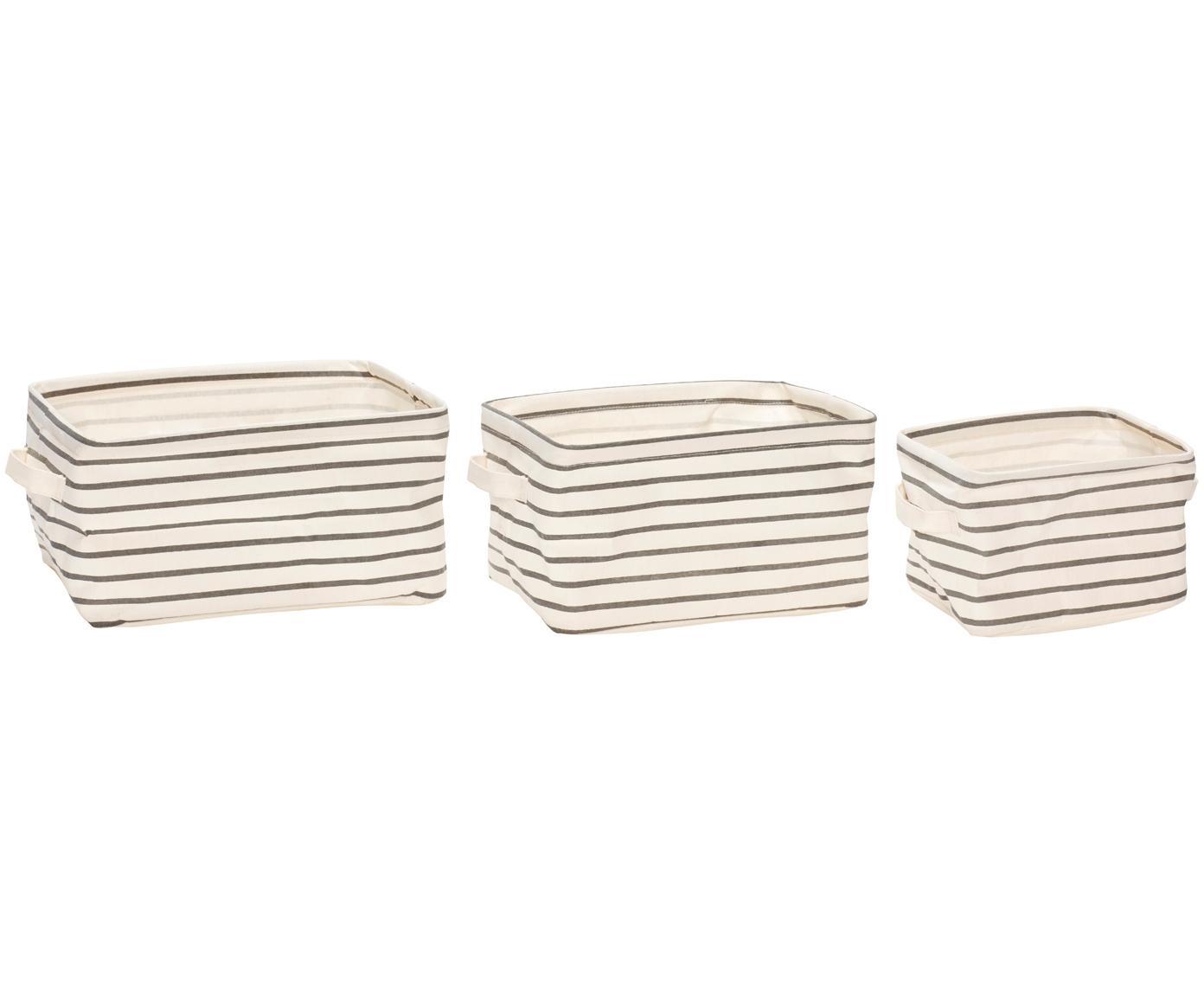 Set 3 cestini Kia, Cornice: ferro, Rivestimento: tela, Grigio, bianco, Diverse dimensioni