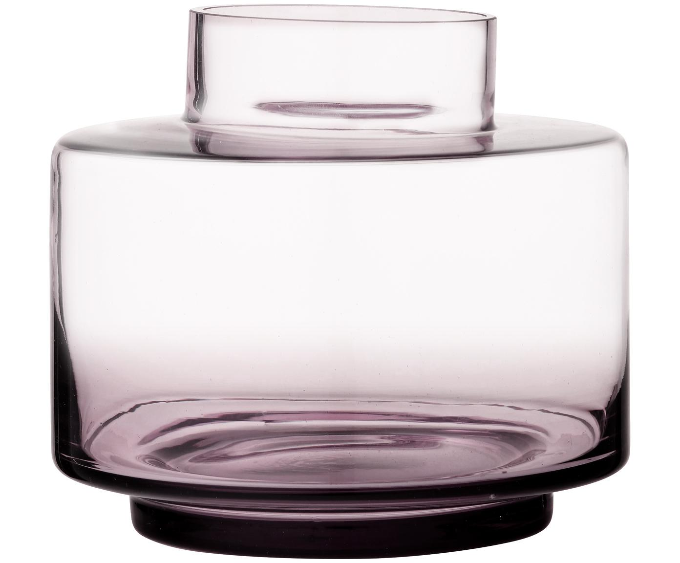 Vaso in vetro soffiato Hedria, Vetro, Rosa, trasparente, Ø 18 x Alt. 16 cm
