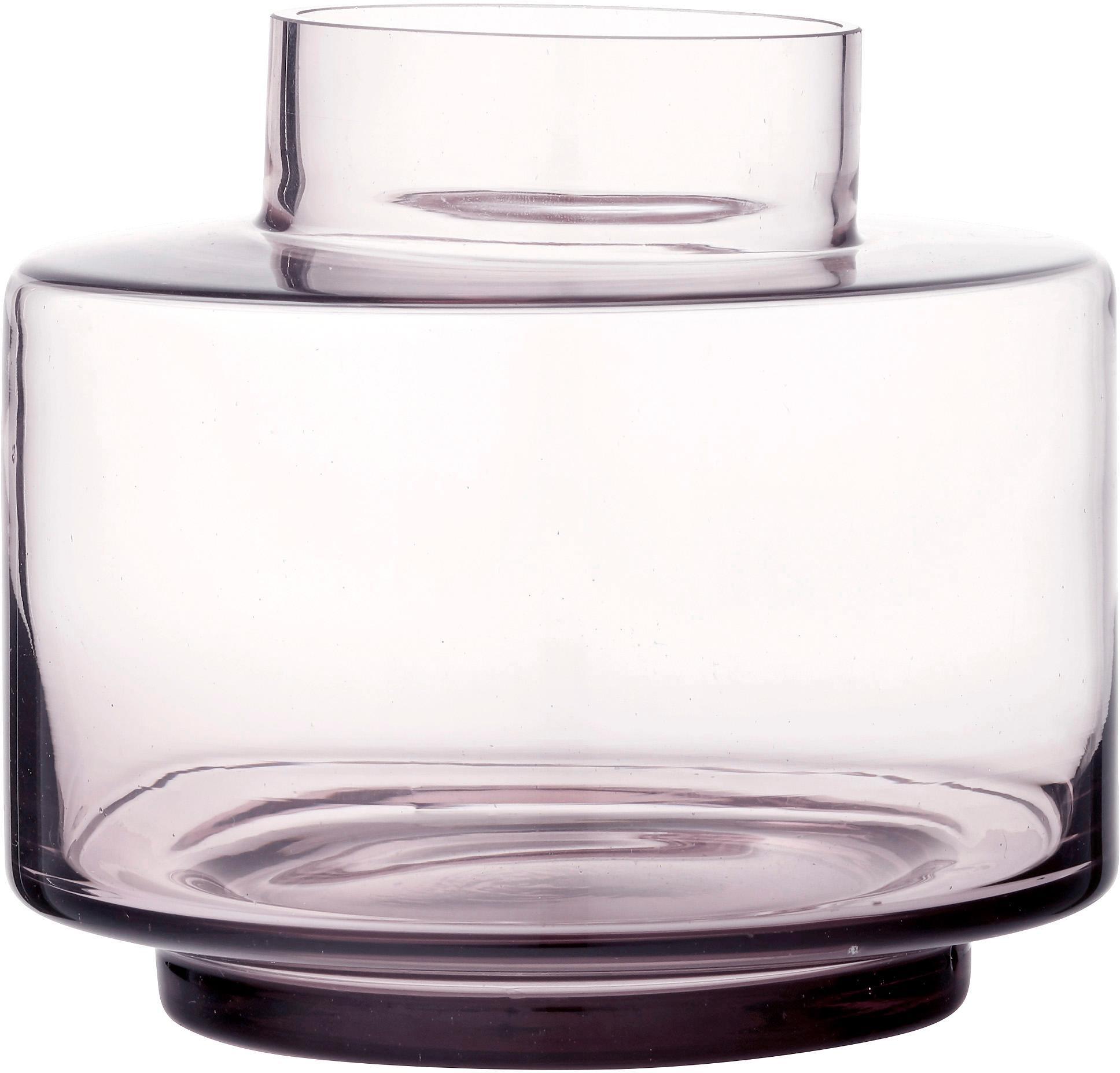 Jarrón de vidrio soplado Hedria, pequeño, Vidrio, Rosa, transparente, Ø 18 x Al 16 cm