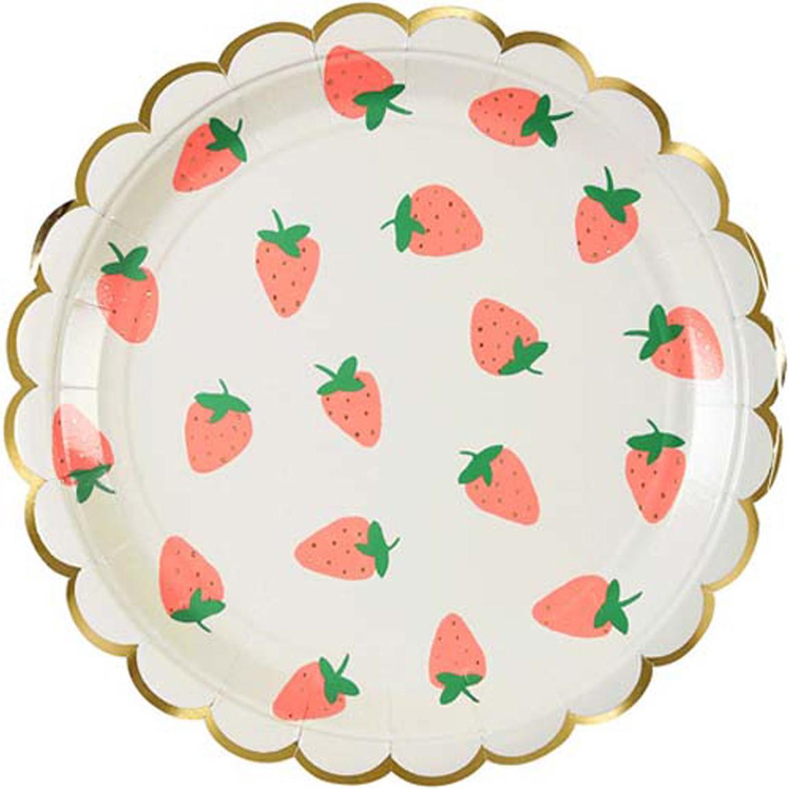 Papier-Teller Strawberry, 8 Stück, Papier, foliert, Weiß, Rosa, Grün, Ø 20 x H 1 cm