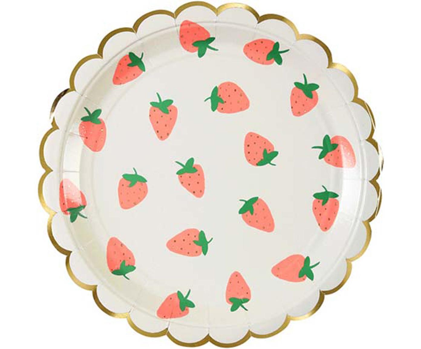 Papieren borden Strawberry, 8 stuks, Gecoat papier, Wit, roze, groen, Ø 20 x H 1 cm