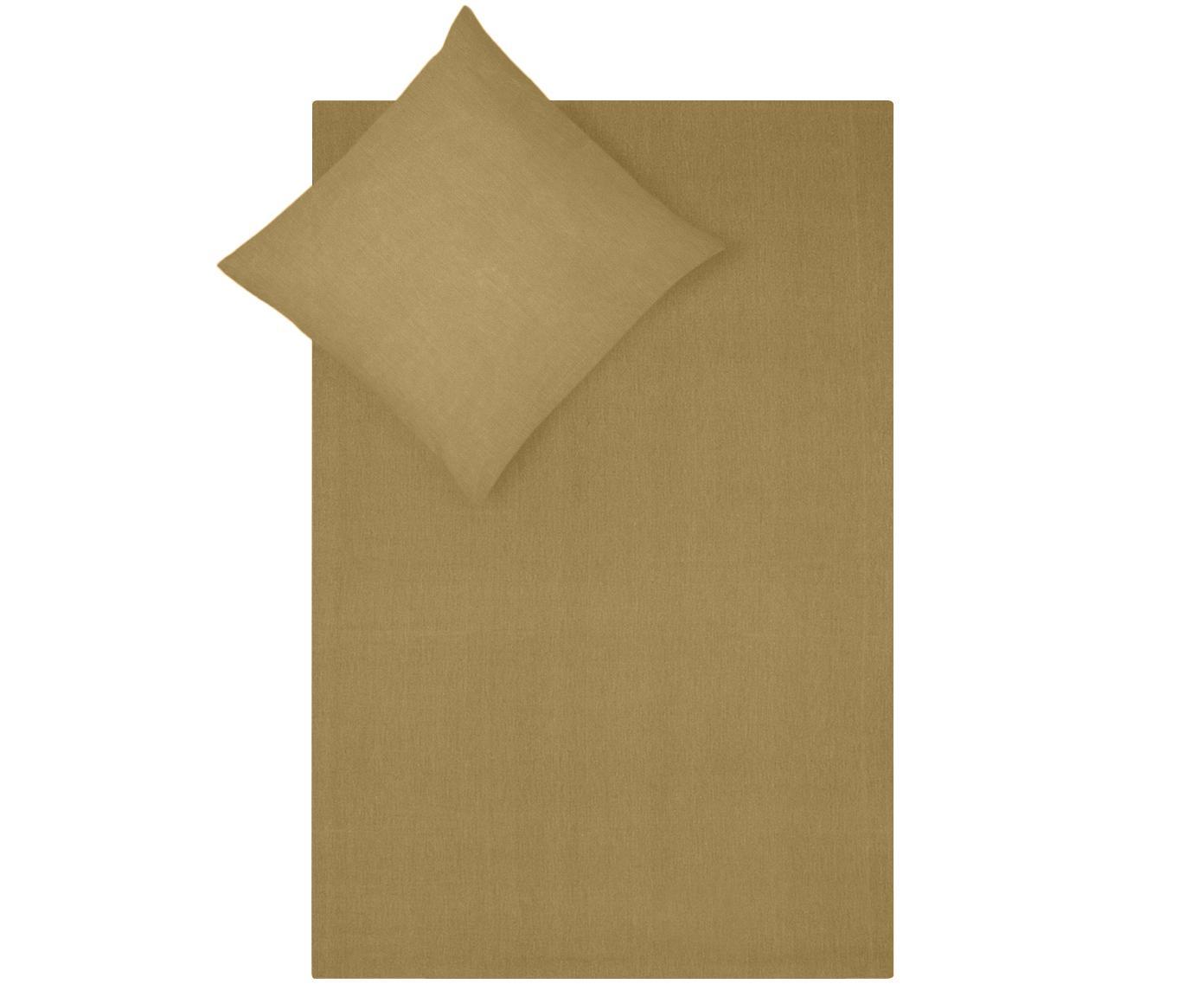 Gewaschene Baumwoll-Bettwäsche Arlene in Gelb, Webart: Renforcé Fadendichte 144 , Gelb, 135 x 200 cm + 1 Kissen 80 x 80 cm