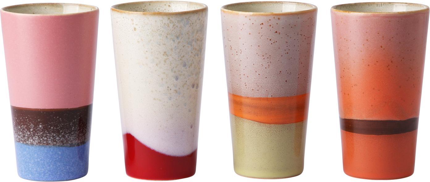 Handgemachte Becher 70's im Retro Style, 4er-Set, Keramik, Mehrfarbig, Ø 8 x H 13 cm
