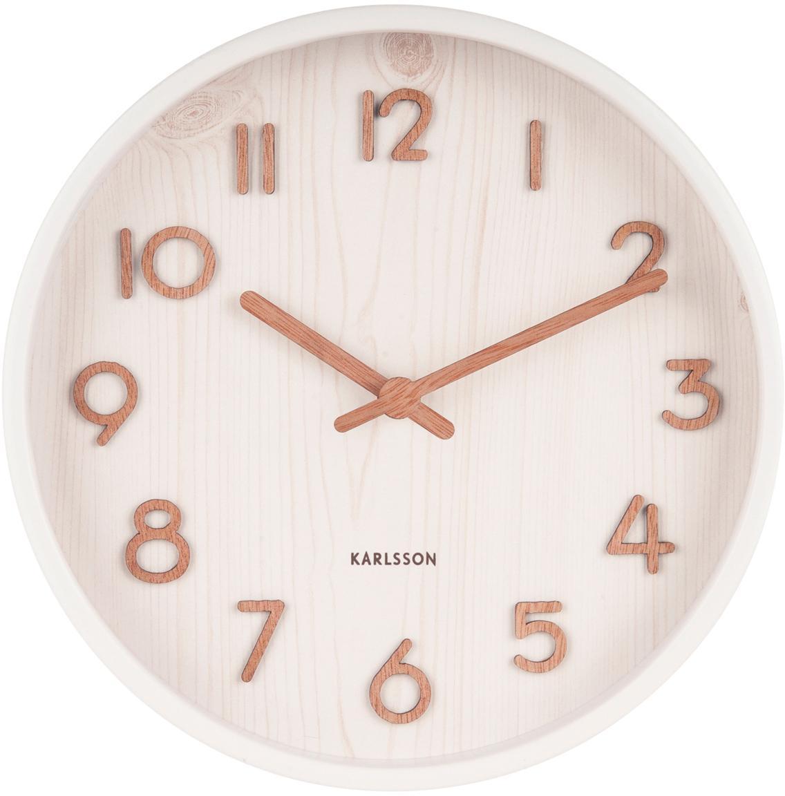 Reloj de pared Pure, Blanco, Ø 22 x F 5 cm