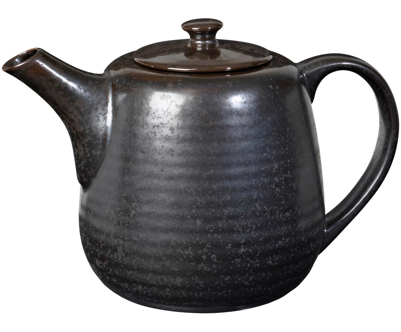 Handgemachte Teekanne Esrum Night, Steingut, glasiert, Graubraun, matt silbrig schimmernd, 1.3 L