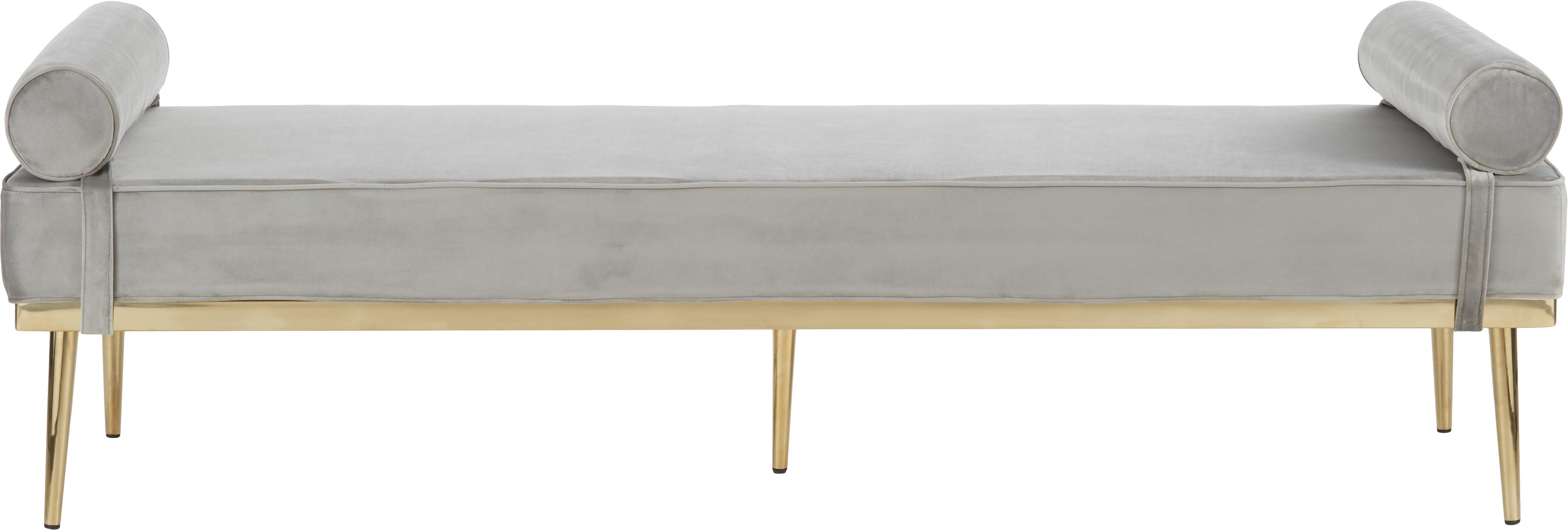 Diván de terciopelo Aurora, Tapizado: terciopelo (tapizado de p, Patas: metal, recubierto, Gris, An 180 x Al 42 cm