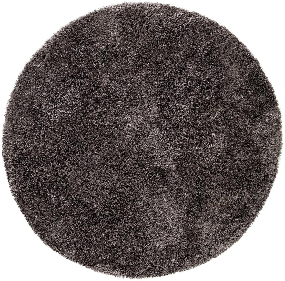 Alfombra redonda de pelo largo Lea, 50%poliéster, 50%polipropileno, Gris antracita, Ø 160 cm (Tamaño M)