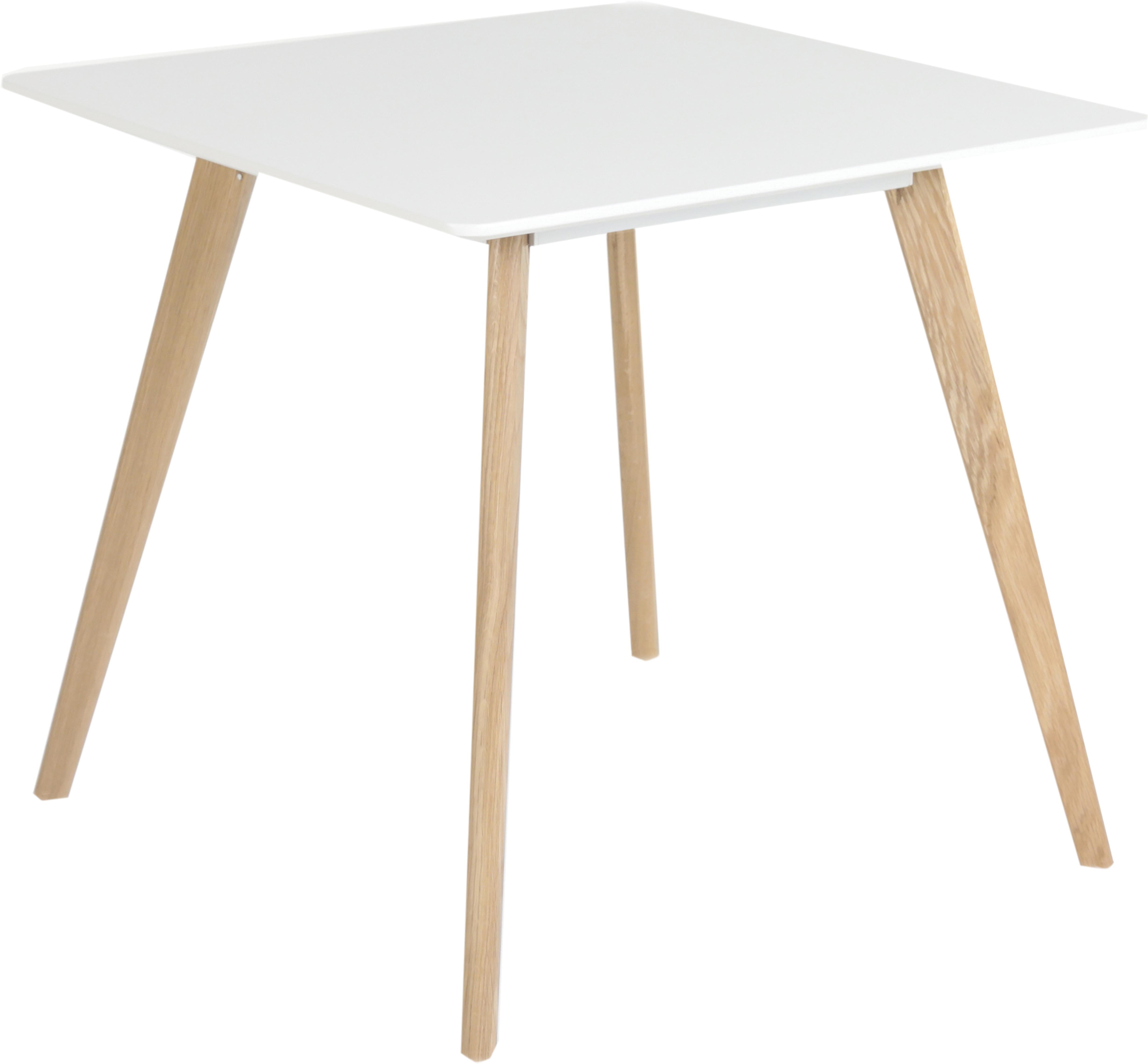 Kleine vierkante eettafel Flamy in scandi design, Tafelblad: mat gelakt MDF, Wit, eikenhoutkleurig, B 80 x D 80 cm