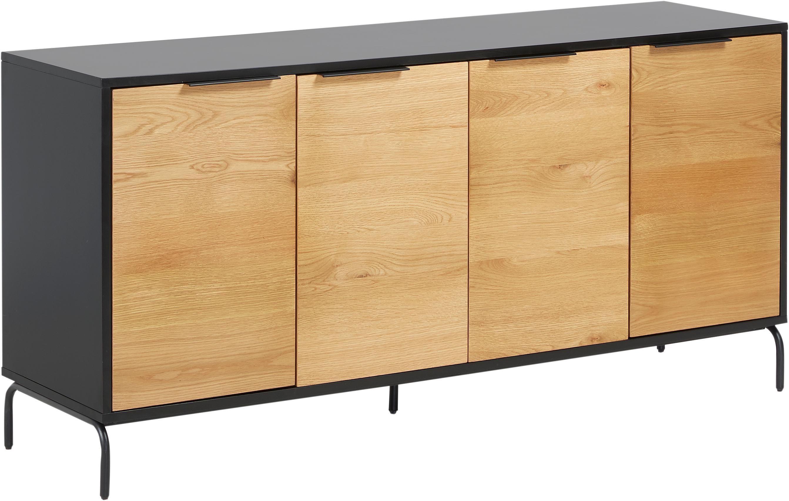 Sideboard Stellar mit 4 Türen aus Eichenholzfurnier, Korpus: Mitteldichte Holzfaserpla, Schwarz, Eichenholz, 165 x 80 cm