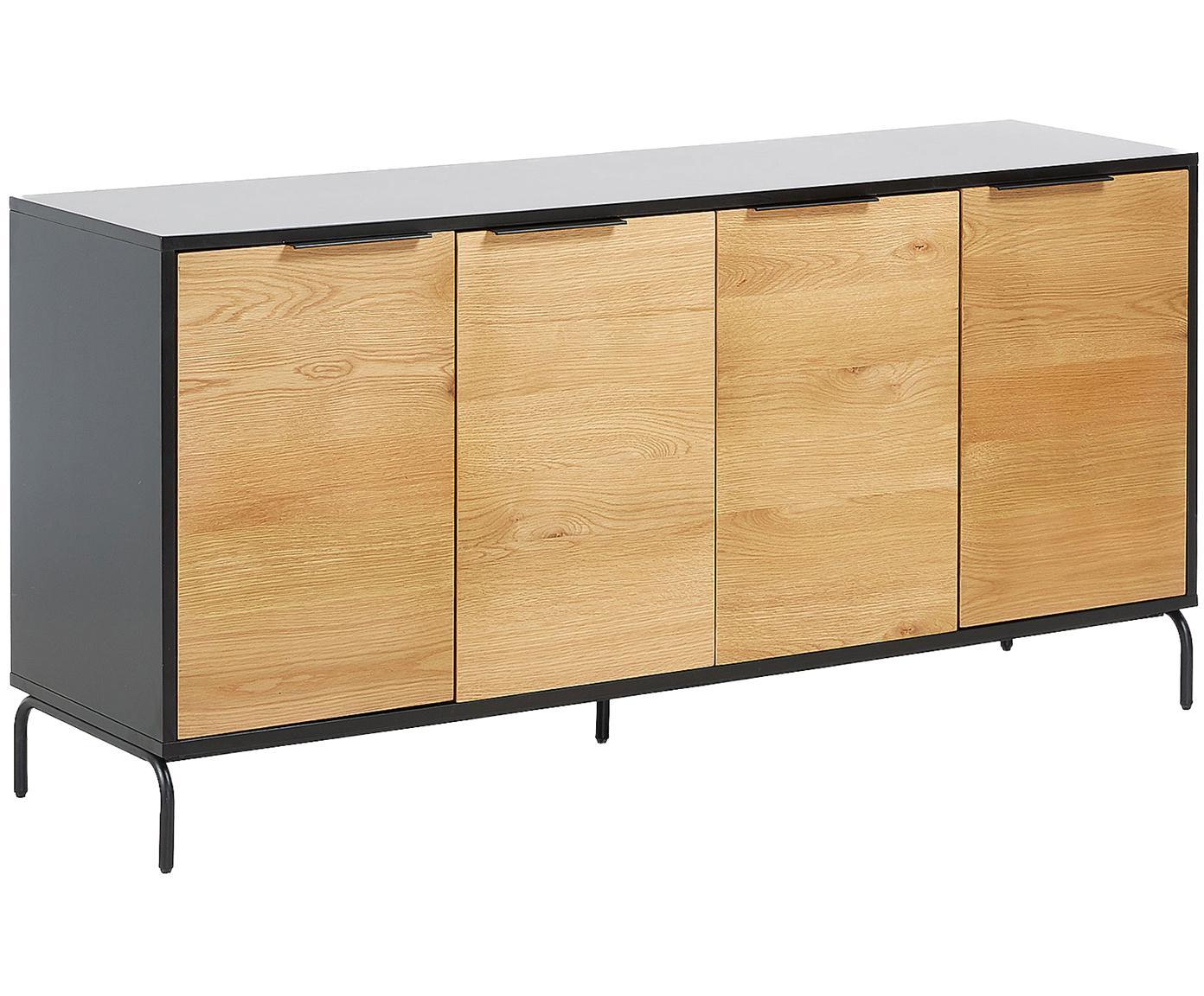Credenza con finitura in rovere Stellar, Nero, legno di quercia, Larg. 165 x Alt. 80 cm