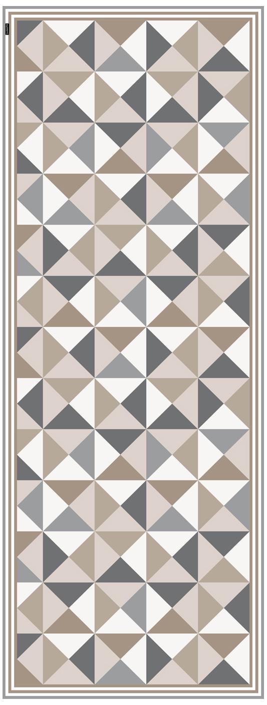 Vinyl-Bodenmatte Haakon, Vinyl, recycelbar, Grautöne, Beigetöne, Weiß, 68 x 180 cm