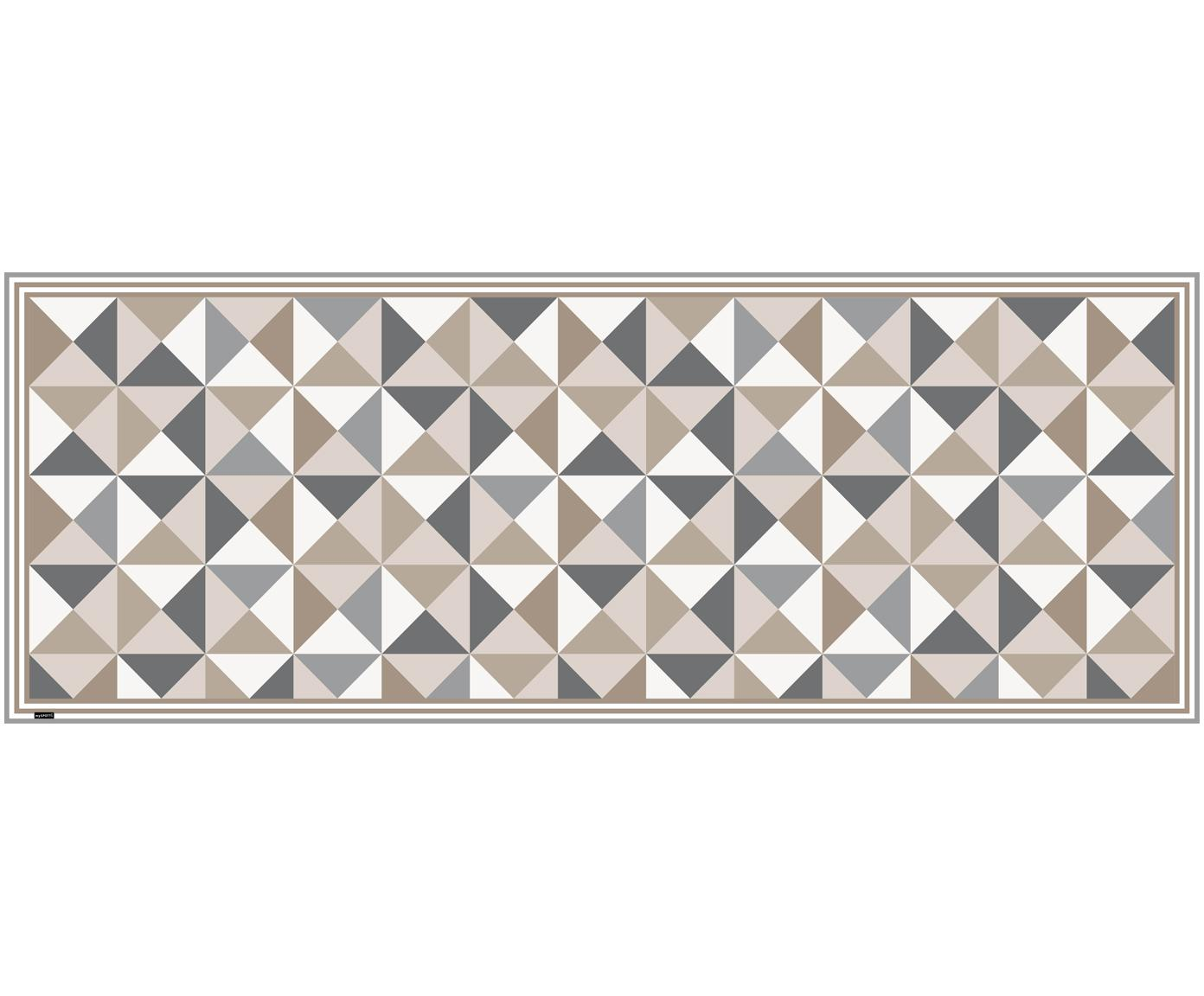 Tappetino in vinile Haakon, Vinile riciclabile, Grigio, beige, bianco, Larg. 68 x Lung. 180 cm