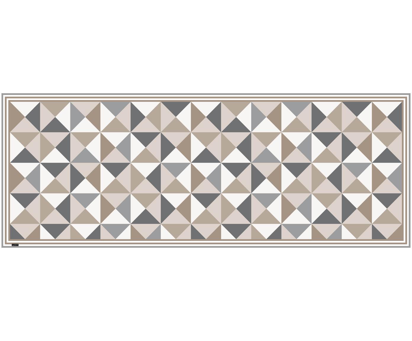 Vinyl vloermat Haakon, Recyclebaar vinyl, Grijstinten, beigetinten, wit, 68 x 180 cm