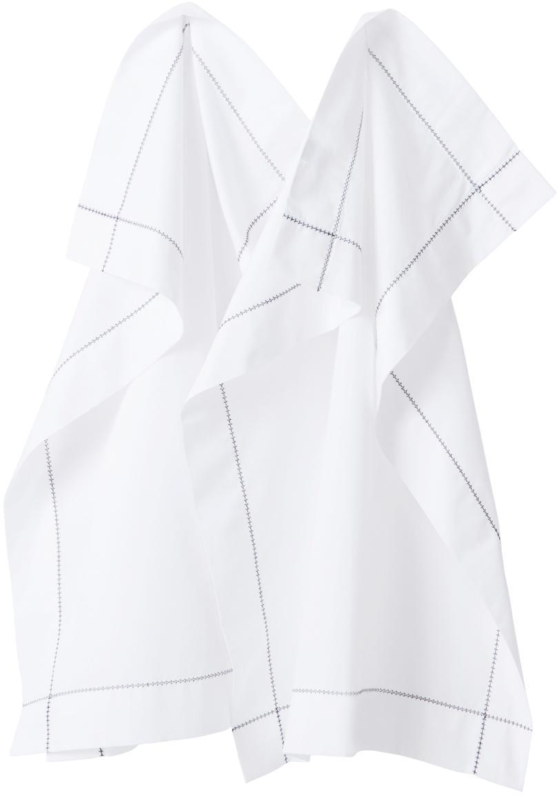 Ręcznik kuchenny z ozdobnymi przeszyciami Pigalle, 2 szt., Bawełna, Biały, czarny, S 50 x D 70 cm