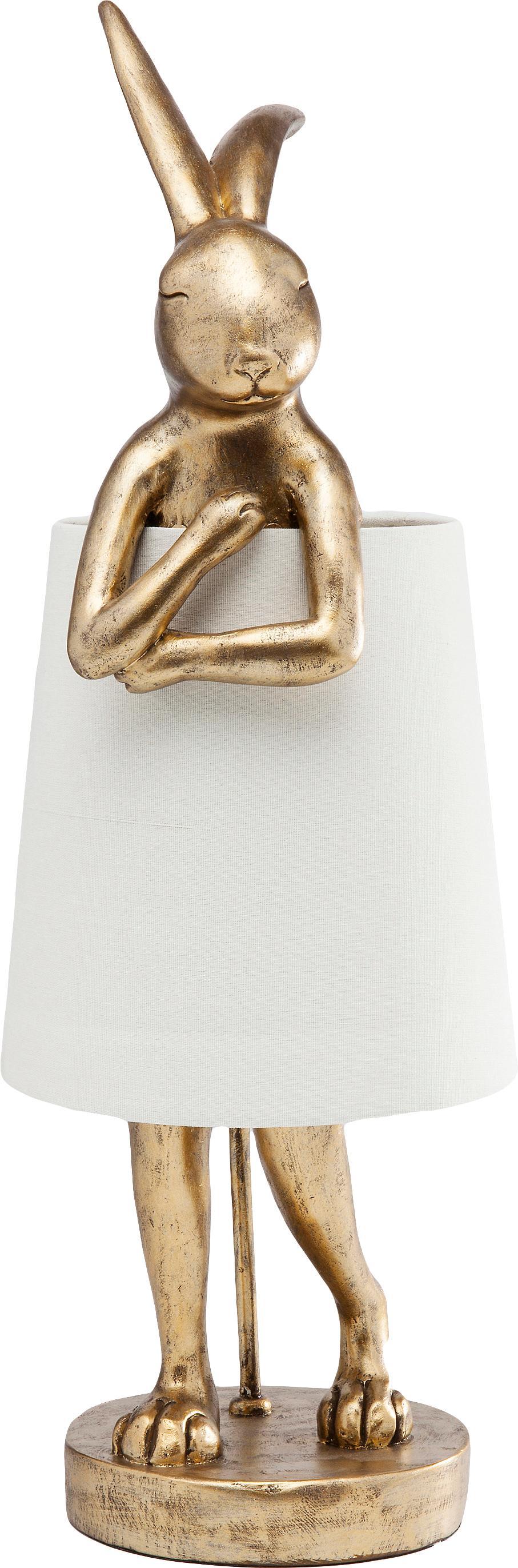 Große Design-Tischlampe Rabbit, Lampenschirm: Leinen, Lampenfuß: Polyresin, Stange: Stahl, pulverbeschichtet, Weiß, Goldfarben, Ø 23 x H 68 cm