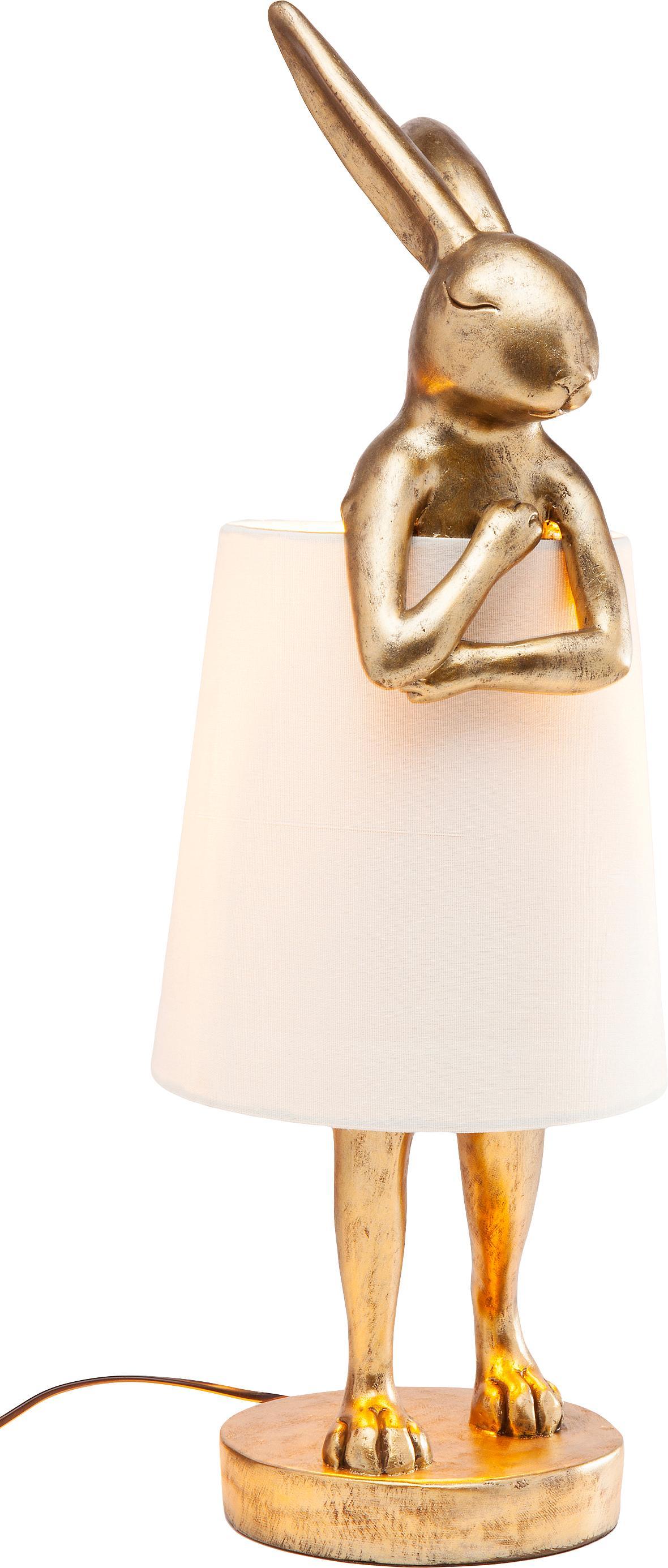 Lampada da tavolo di design Rabbit, Paralume: lino, Struttura: poliresina, Asta: acciaio verniciato a polv, Bianco, dorato, Ø 31 x Alt. 88 cm