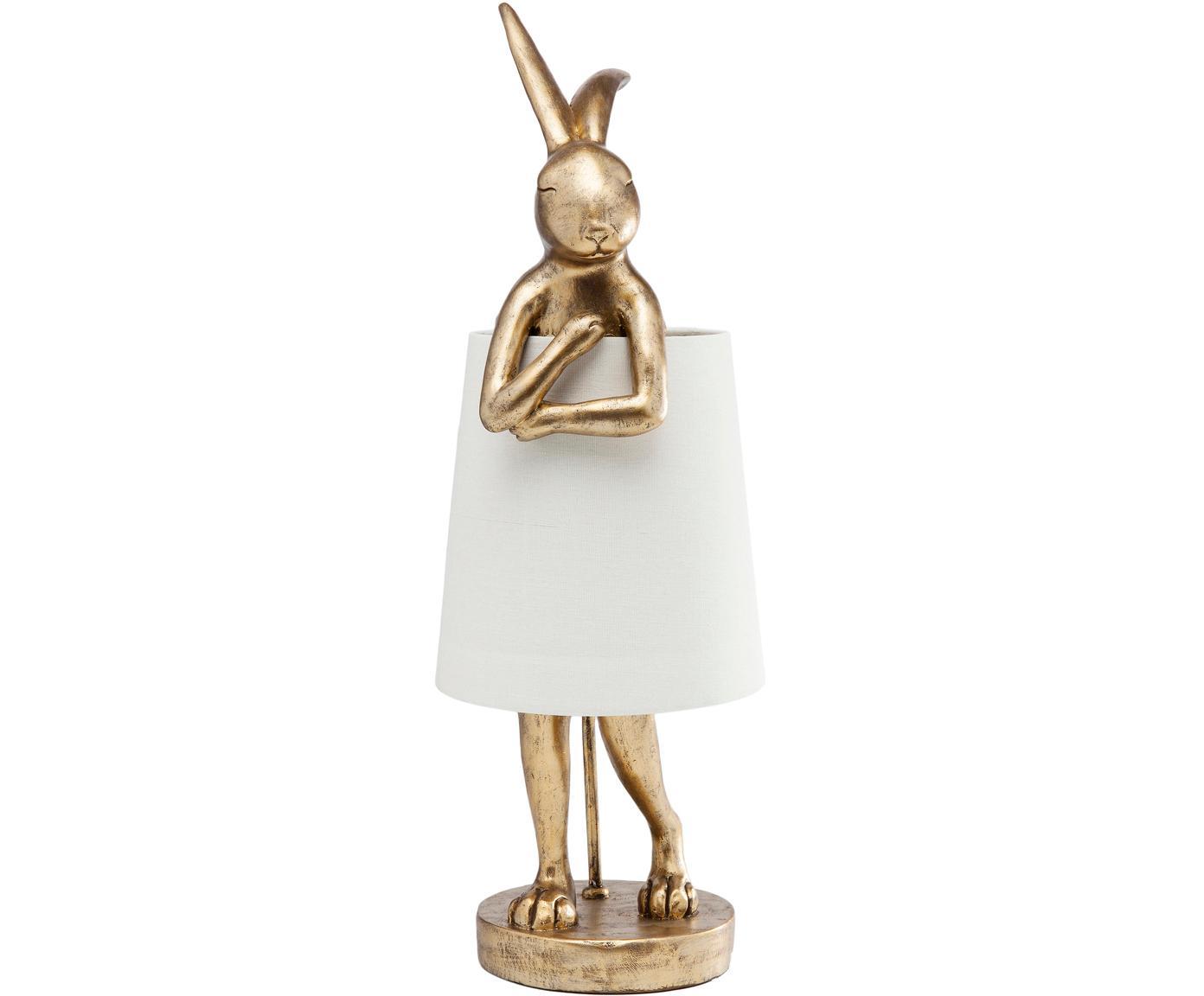 Design-Tischleuchte Rabbit, Lampenschirm: Leinen, Gestell: Polyresin, Stange: Stahl, pulverbeschichtet, Weiß, Goldfarben, Ø 23 x H 68 cm