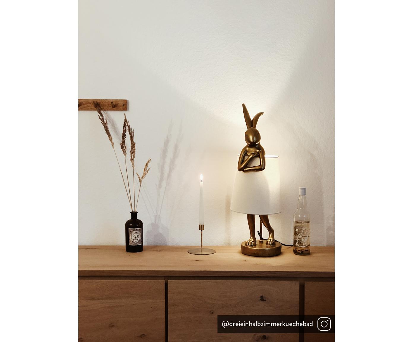 Lampa stołowa Rabbit, Stelaż: poliresing, Biały, odcienie złotego, Ø 31 x W 88 cm