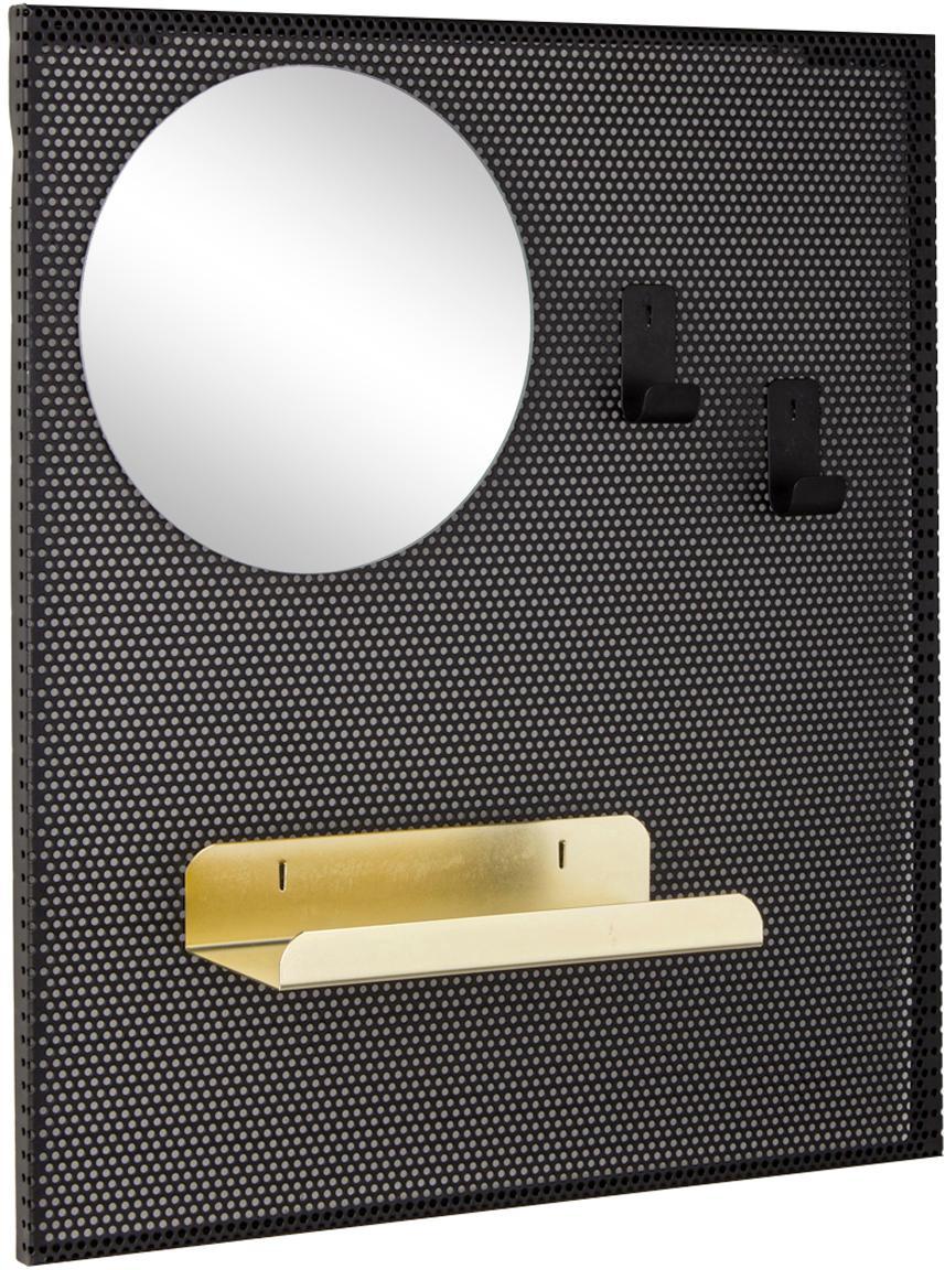 Kleine wandkapstok Metric met sleutelplank, Zwart, 40 x 46 cm