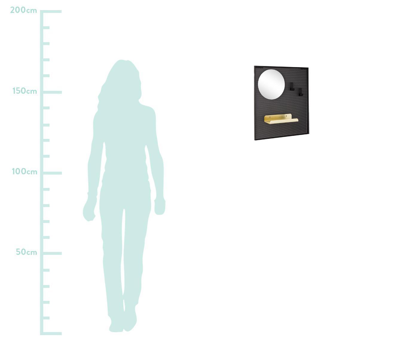 Kleine Wandgarderobe Metric mit Schlüsselablage, Spiegelfläche: Spiegelglas, Schwarz, 40 x 46 cm