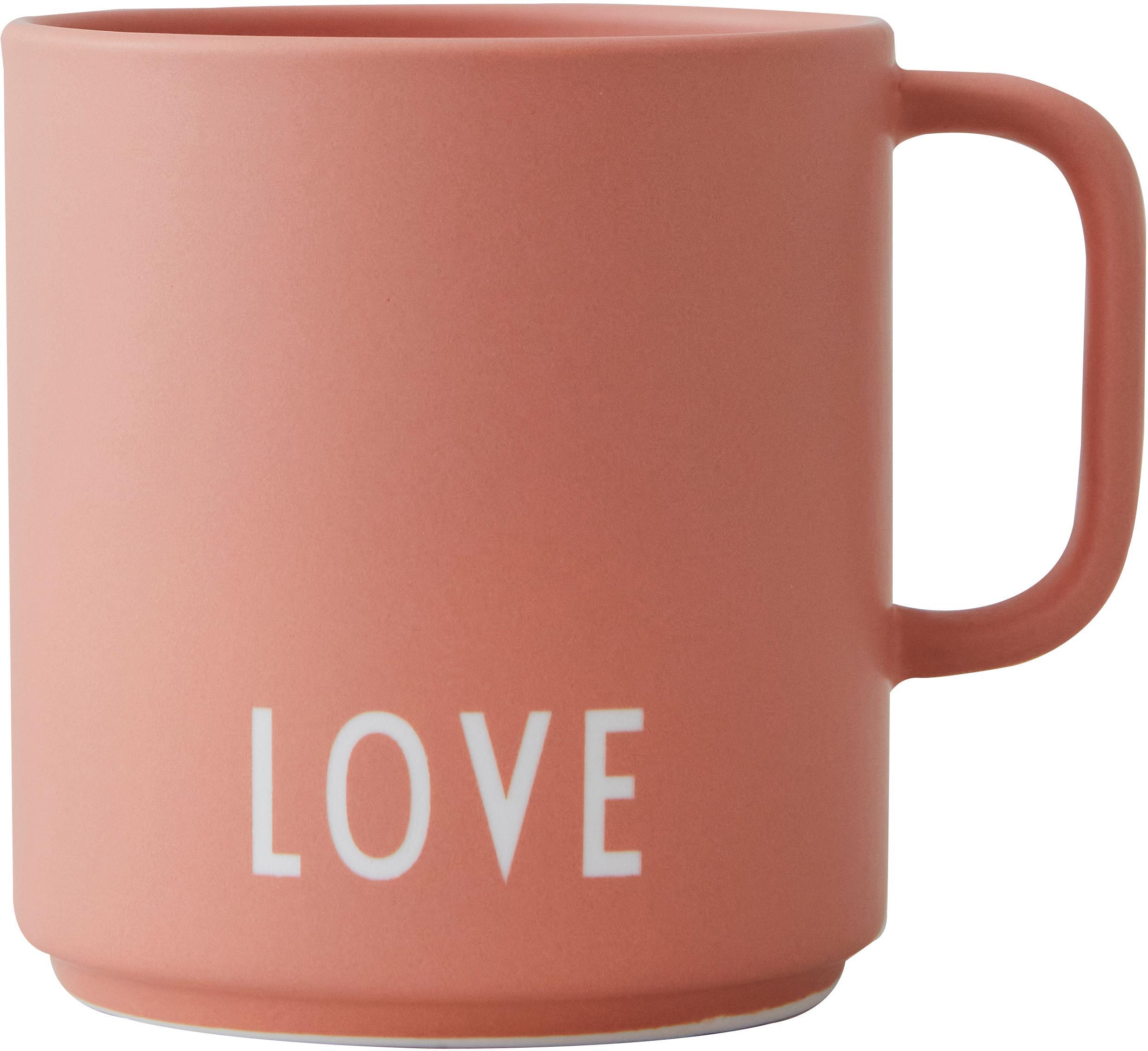 Taza de diseño Favourite LOVE, Porcelana fina Bone China, Terracota, blanco, Ø 10 x Al 9 cm