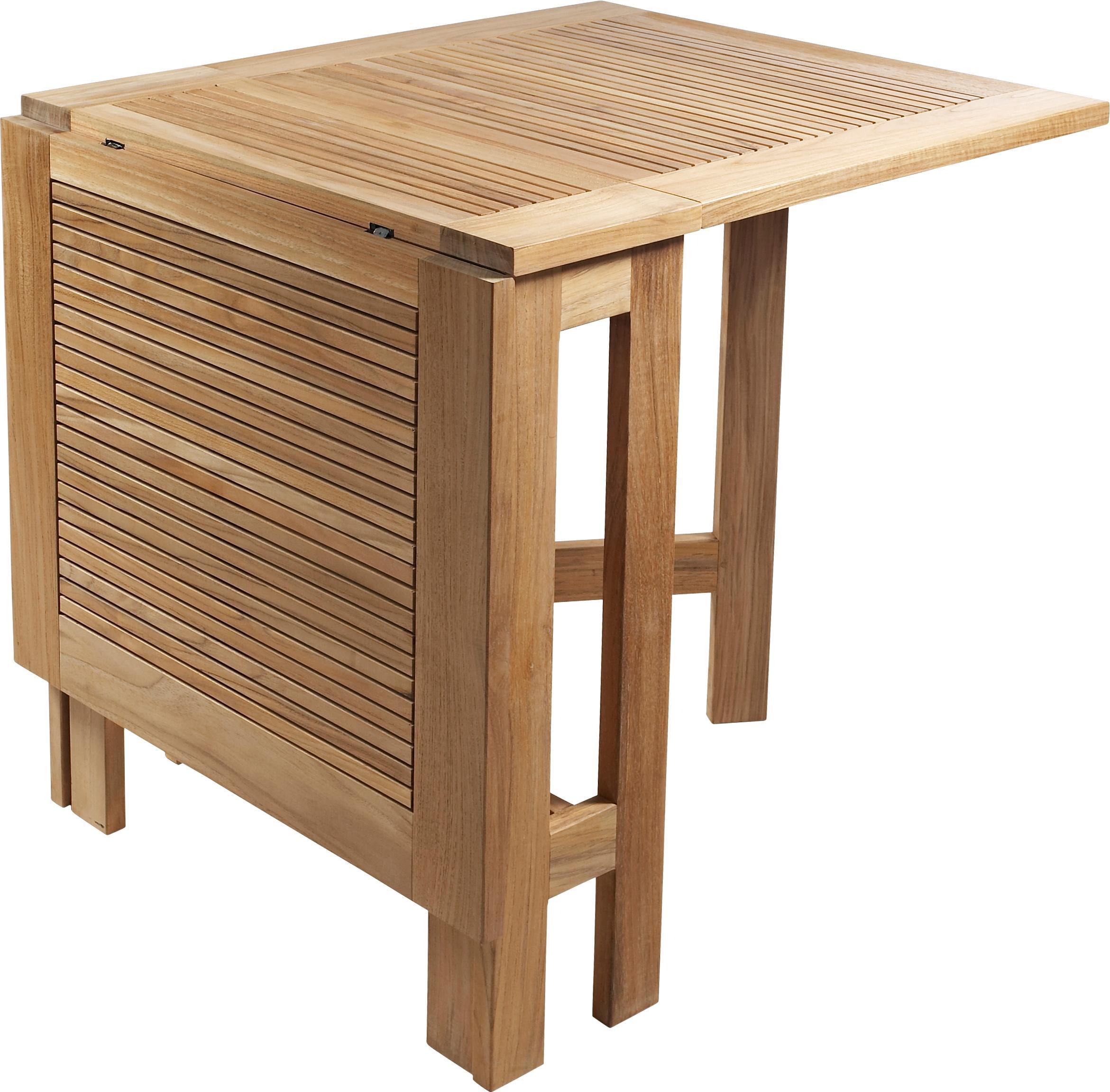 Stół ogrodowy składany Butterfly, Drewno tekowe, piaskowane, Drewno tekowe, S 130 x W 72 cm