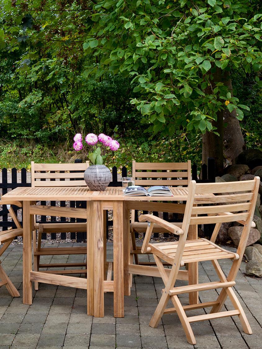 Mesa de jardín plegable Butterfly, Madera de teca lijada, Teca, An 130 x Al 72 cm