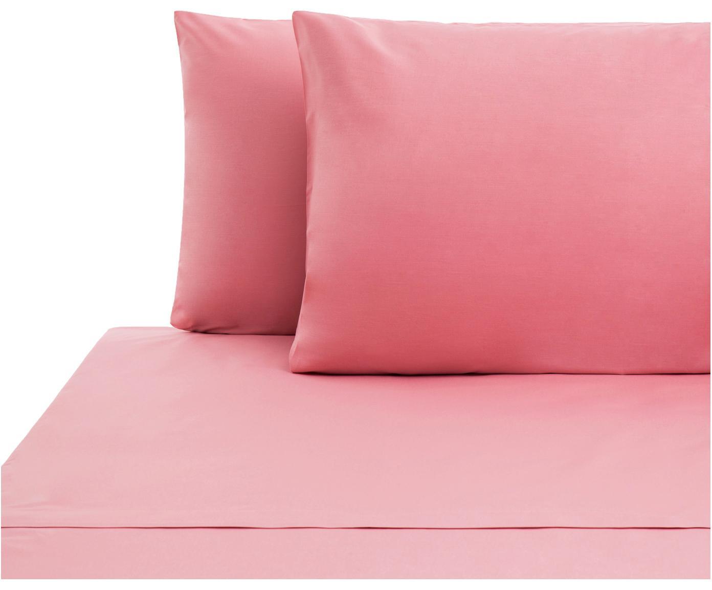 Set lenzuola in cotone ranforce Lenare 2 pz, Tessuto: Renforcé, Fronte e retro: rosa, 150 x 290 cm